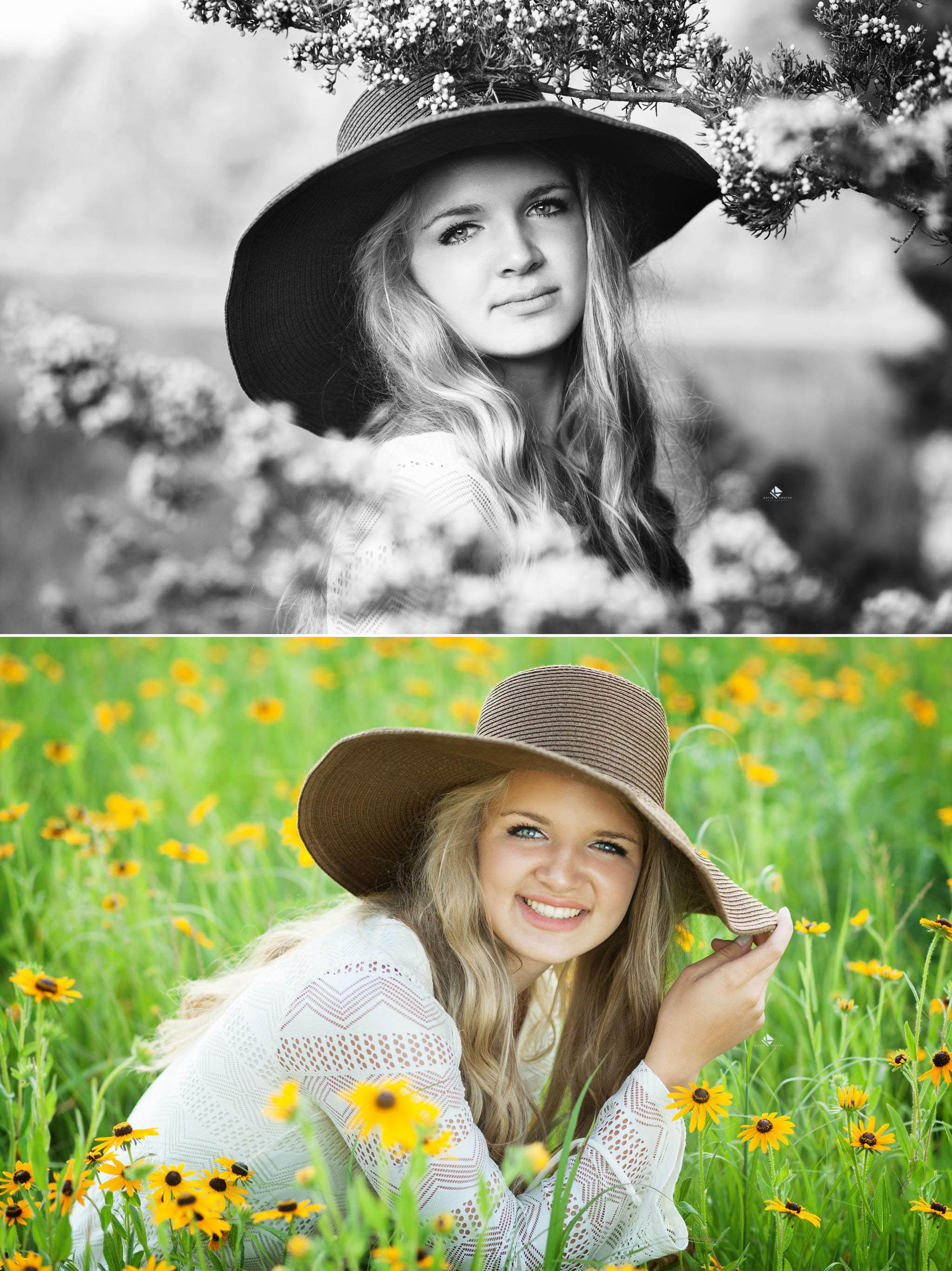 Floppy Hat Senior by Katie Swatek Photography | Senior in a Flower Field by Katie Swatek Photography