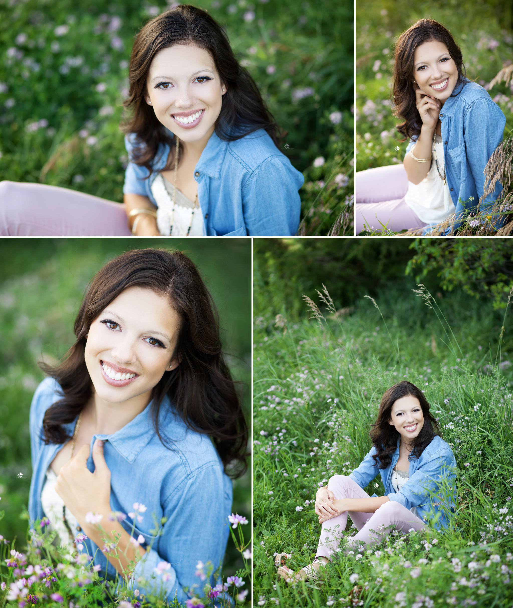 Flower Field Senior by Katie Swatek Photography | Pink Jeans Senior by Katie Swatek Photography