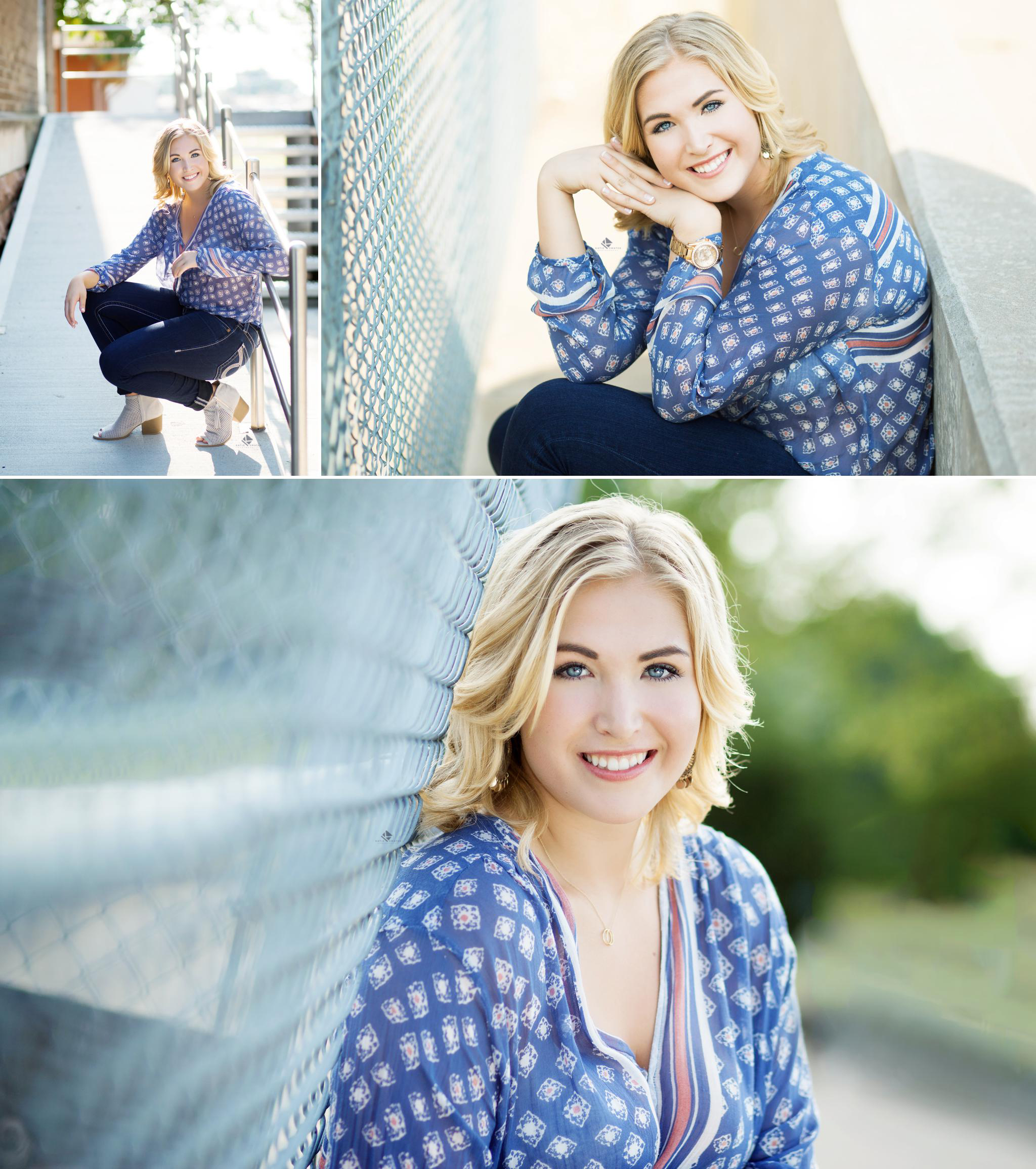 Urban Senior by Katie Swatek Photography | Chainlink Fence Senior by Katie Swatek Photography