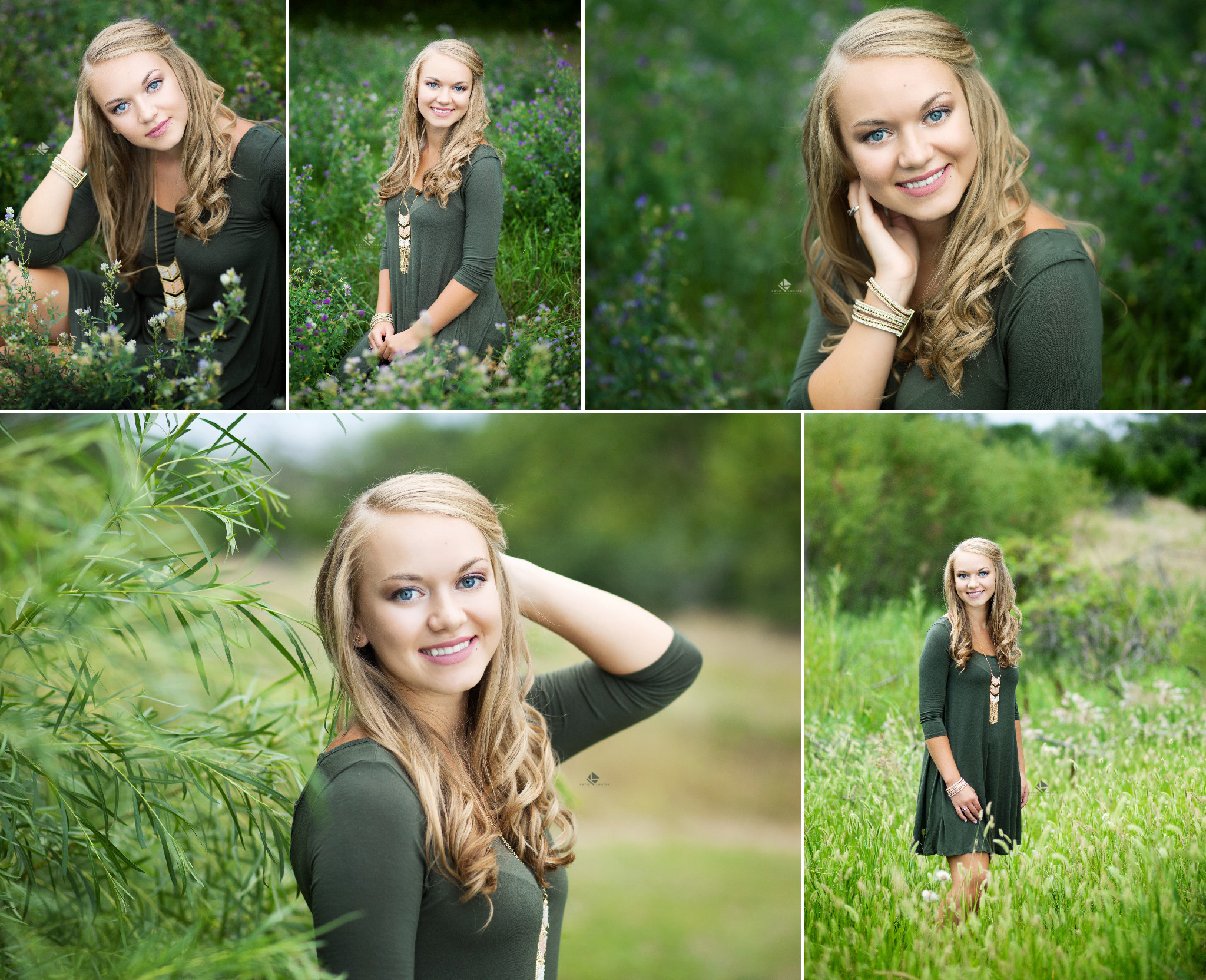 Flower Field Senior Images by Katie Swatek Photography | Olive Dress Senior Images by Katie Swatek Photography