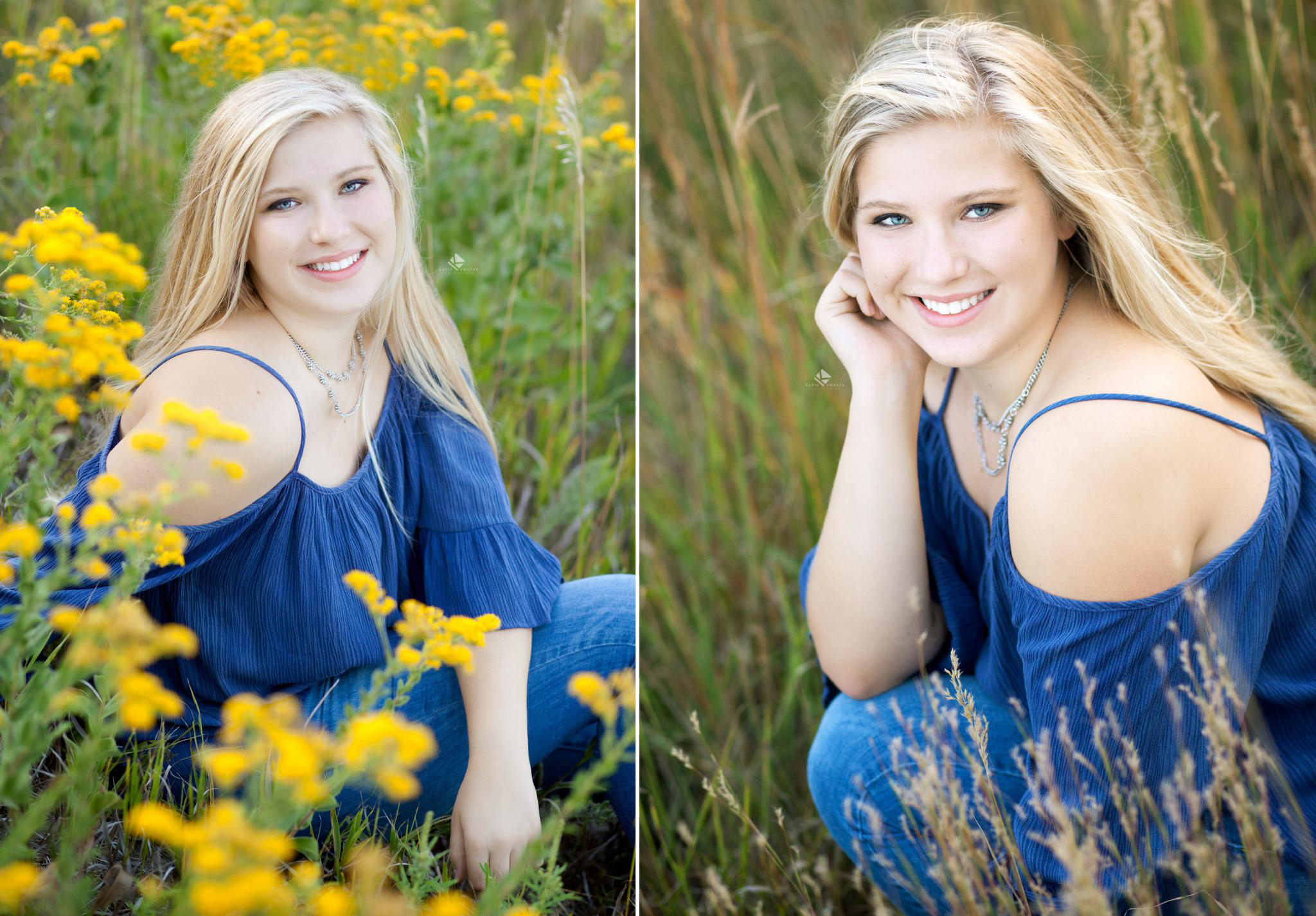 blonde senior girl in blue top sitting in tall grass and mustard seed