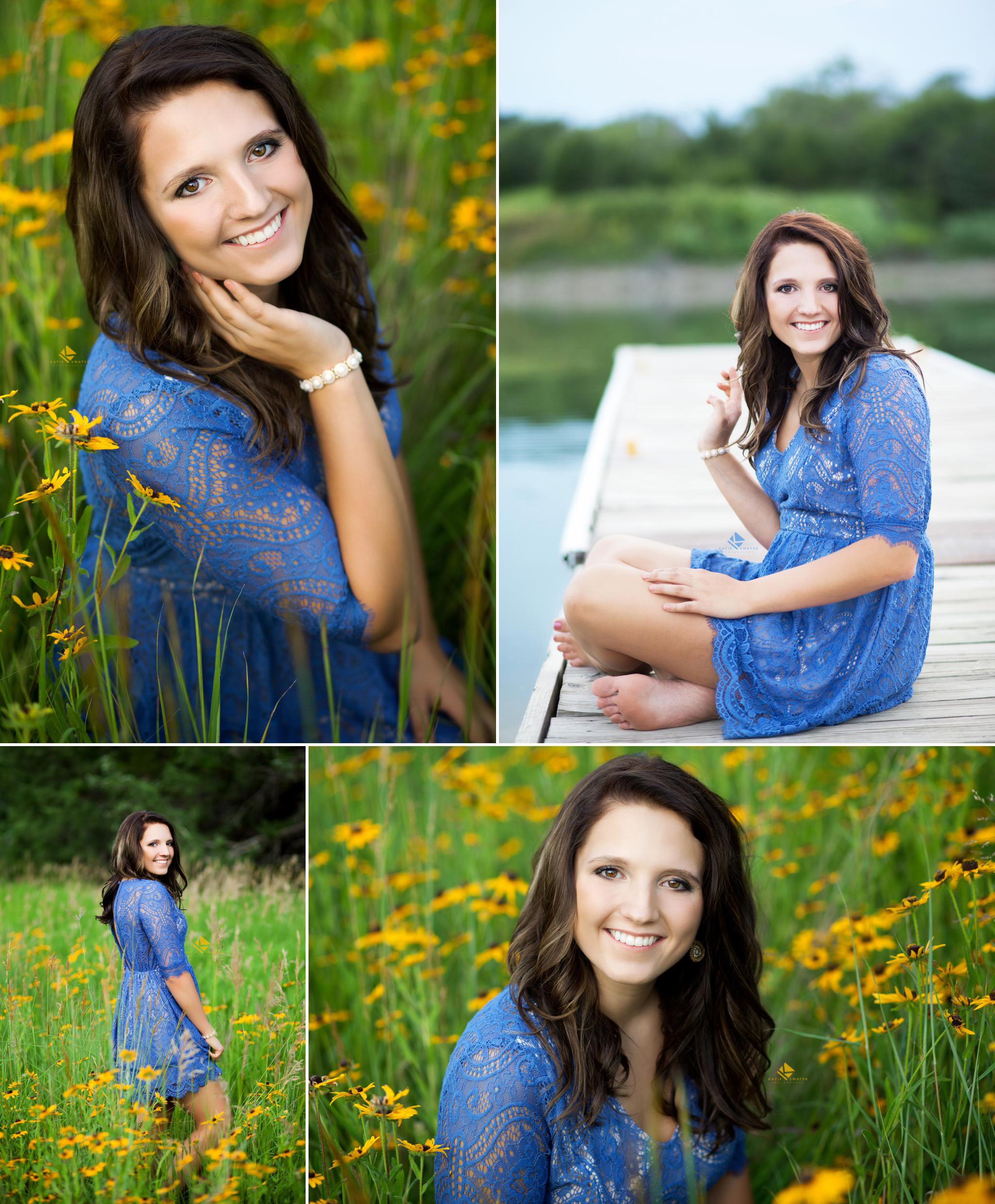 brunette senior girl poses in a blue lace dress in the middle of a yellow wildflower field and on a dock by the river