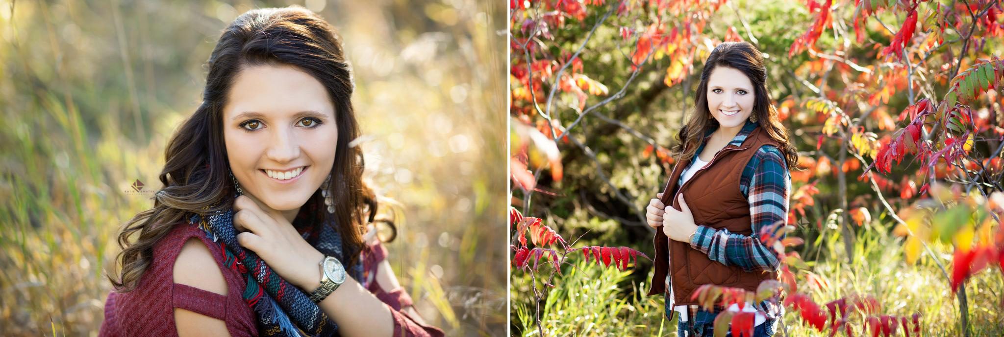Brunette senior girl in fall settings