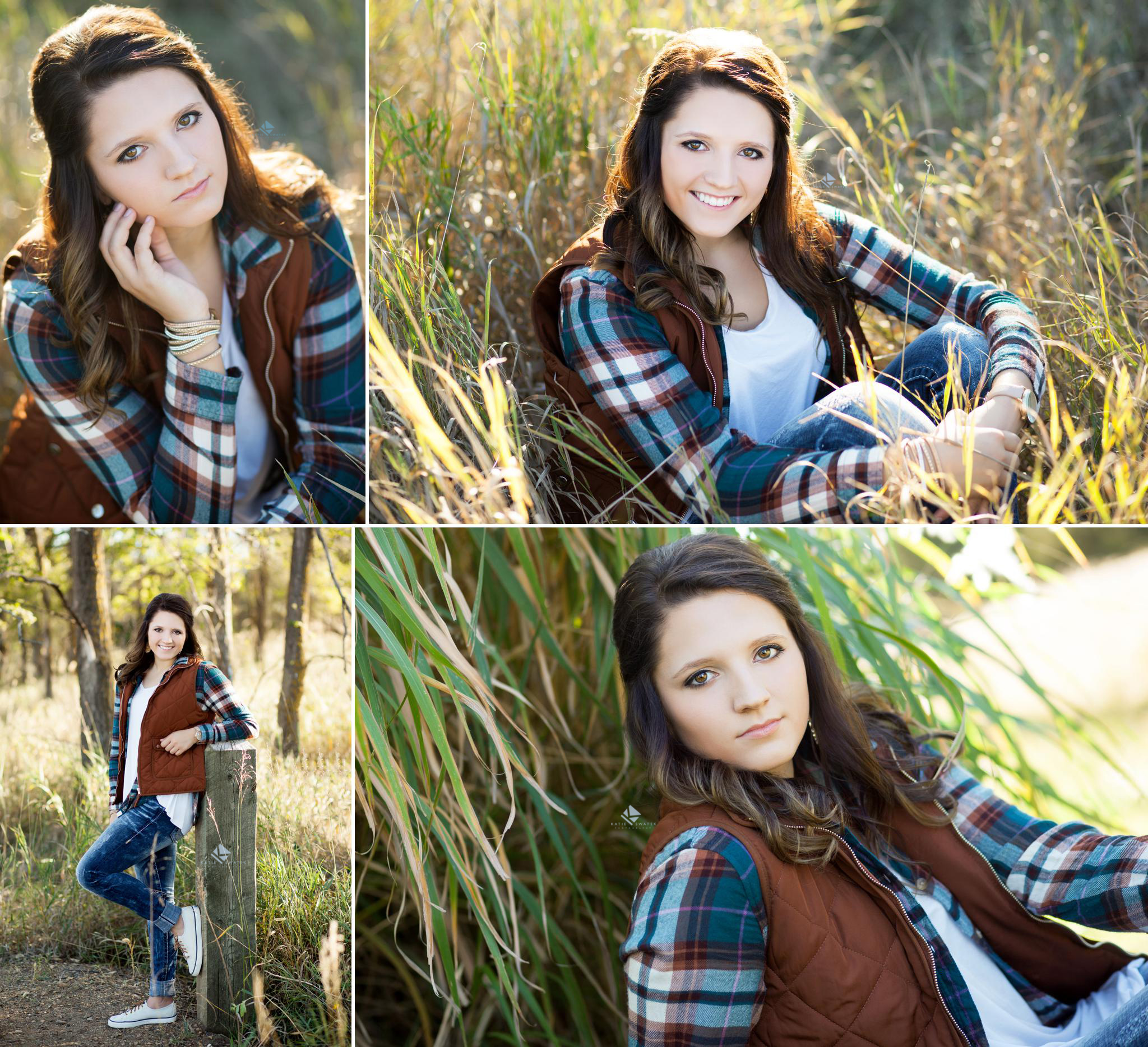 Brunette senior girl poses in tall grass and by log wood in a flannel blue shirt and brown puffy vest