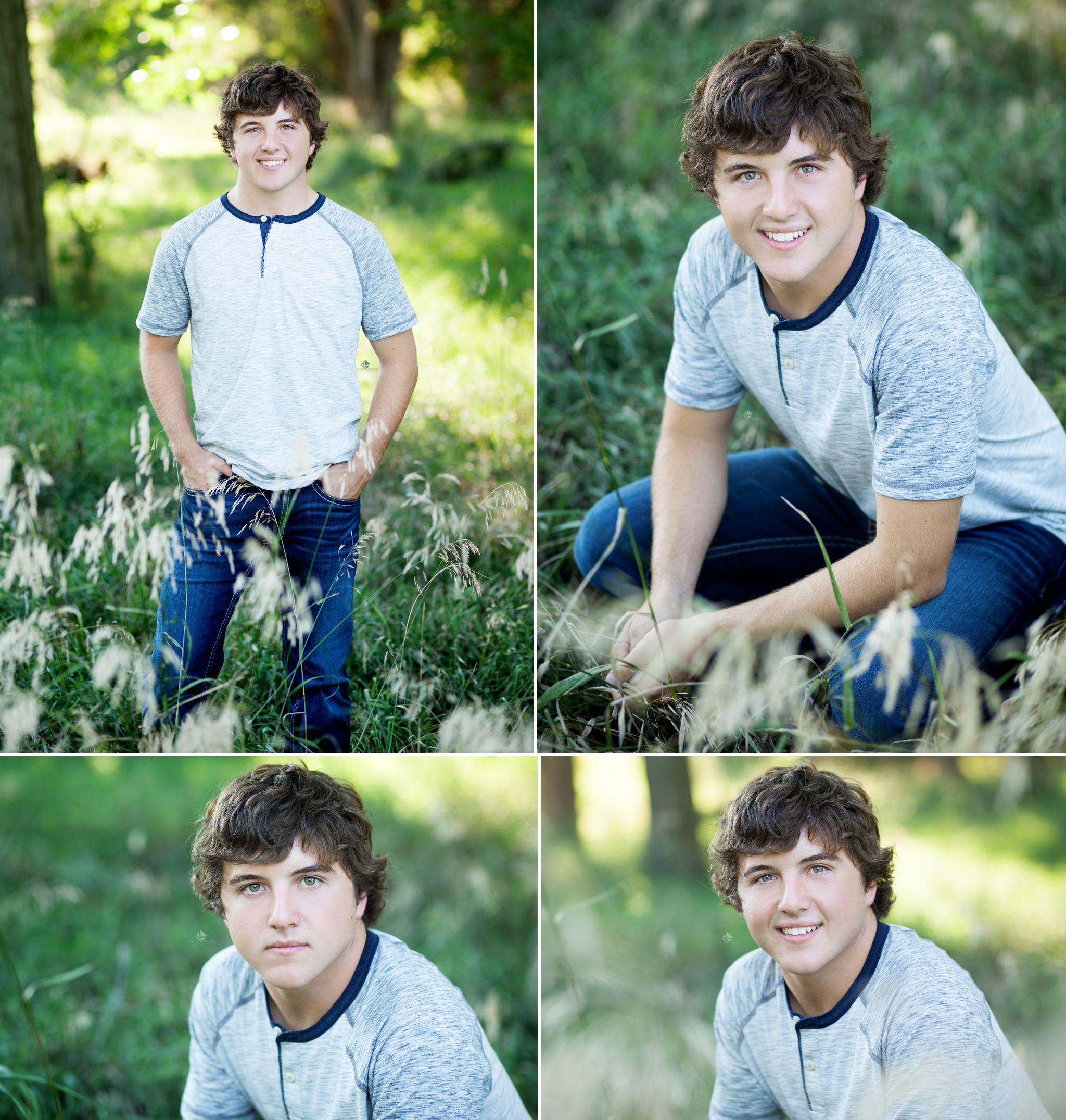 brunette senior guy in a gray baseball tee in tall green grass in the country