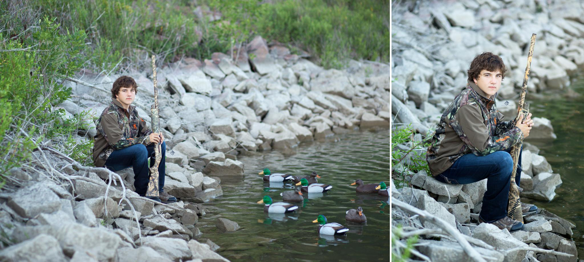 brunette senior guy in camouflage sitting on rocks next to the river with a gun and duck decoys