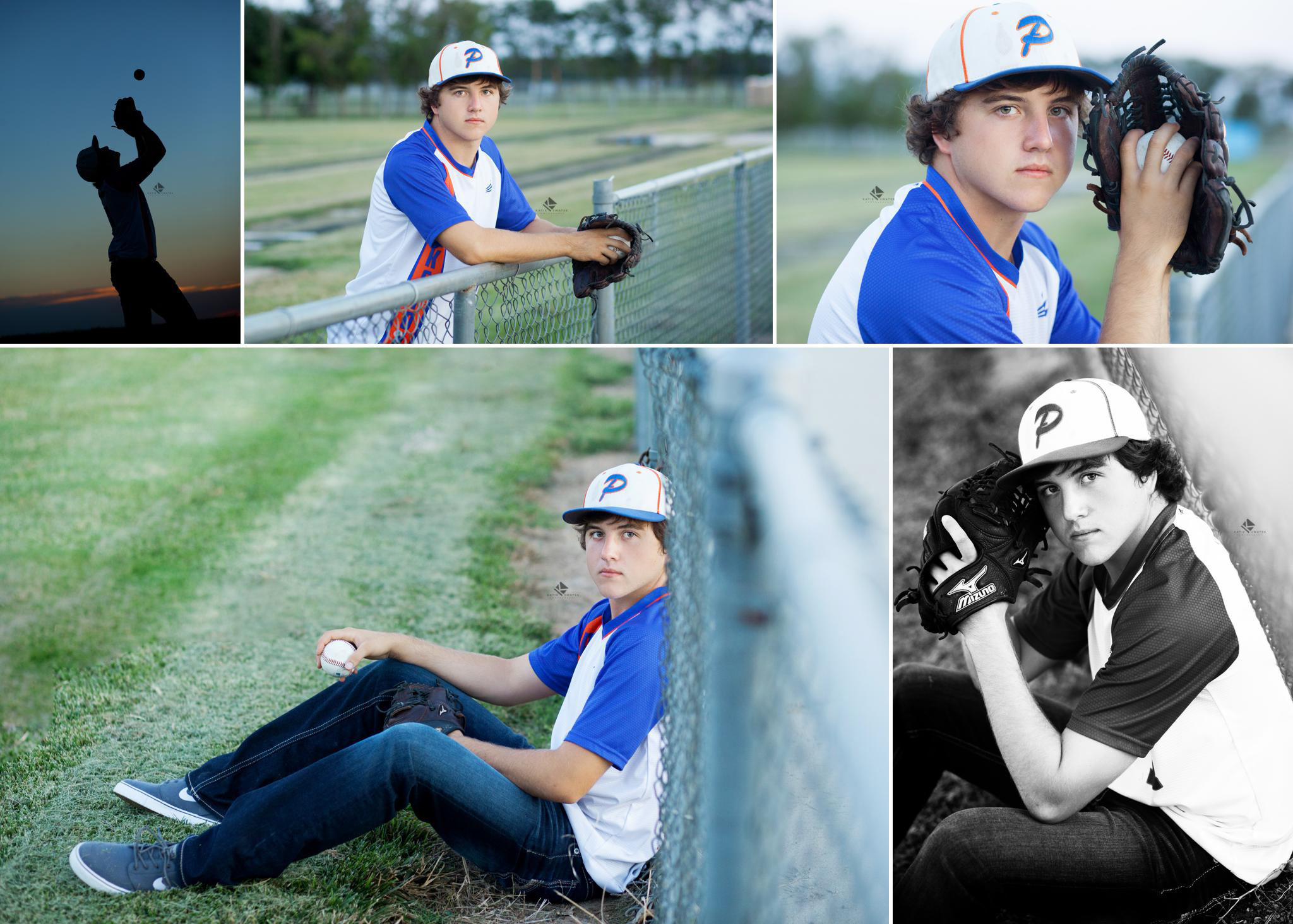 brunette senior boy in a baseball jersey and baseball hat posing with a baseball glove and a baseball at sunset