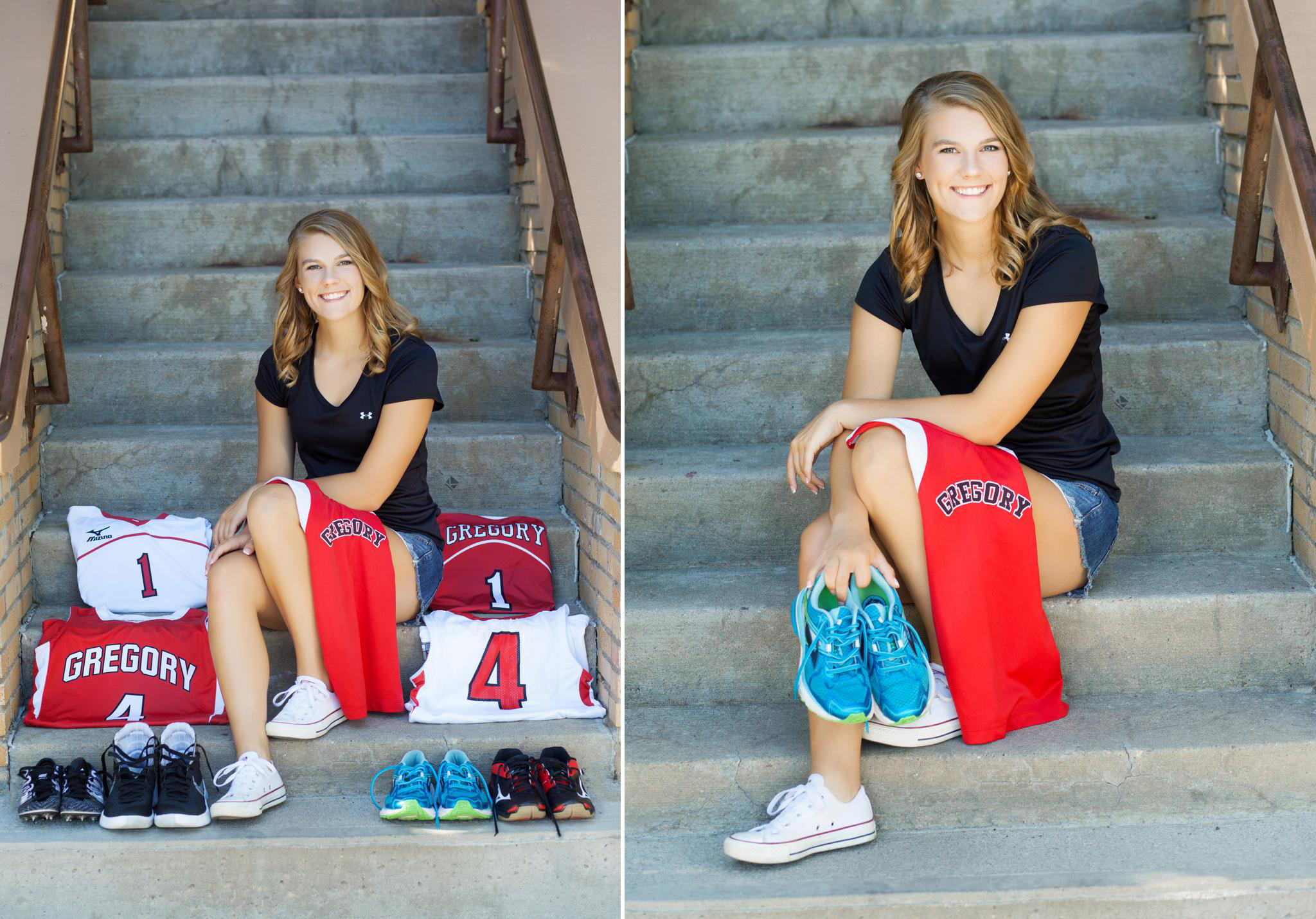 blonde senior girl sitting on steps surrounded by high school jerseys