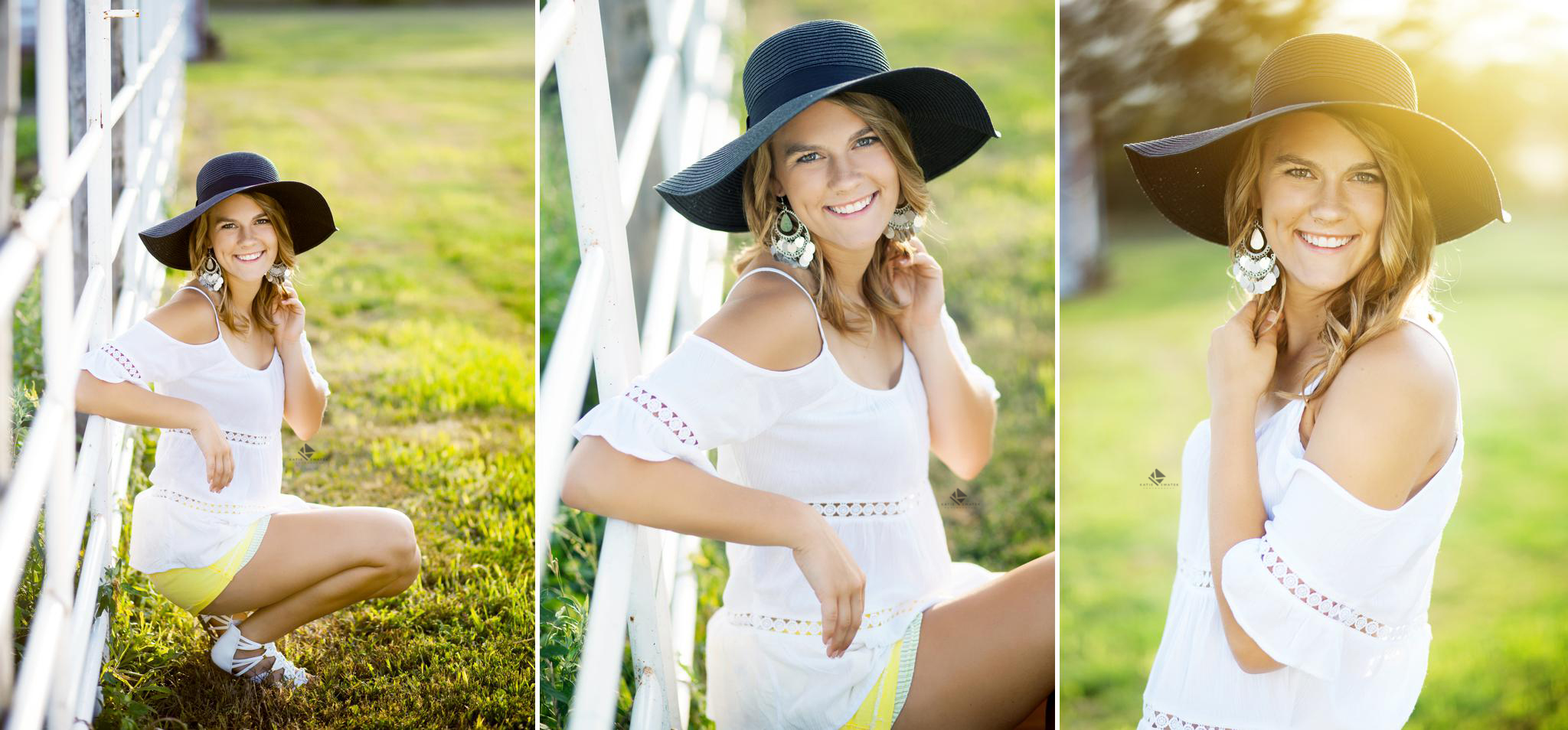 blonde senior girl in a white off the shoulder top and yellow short with a black hat by a white metal fence