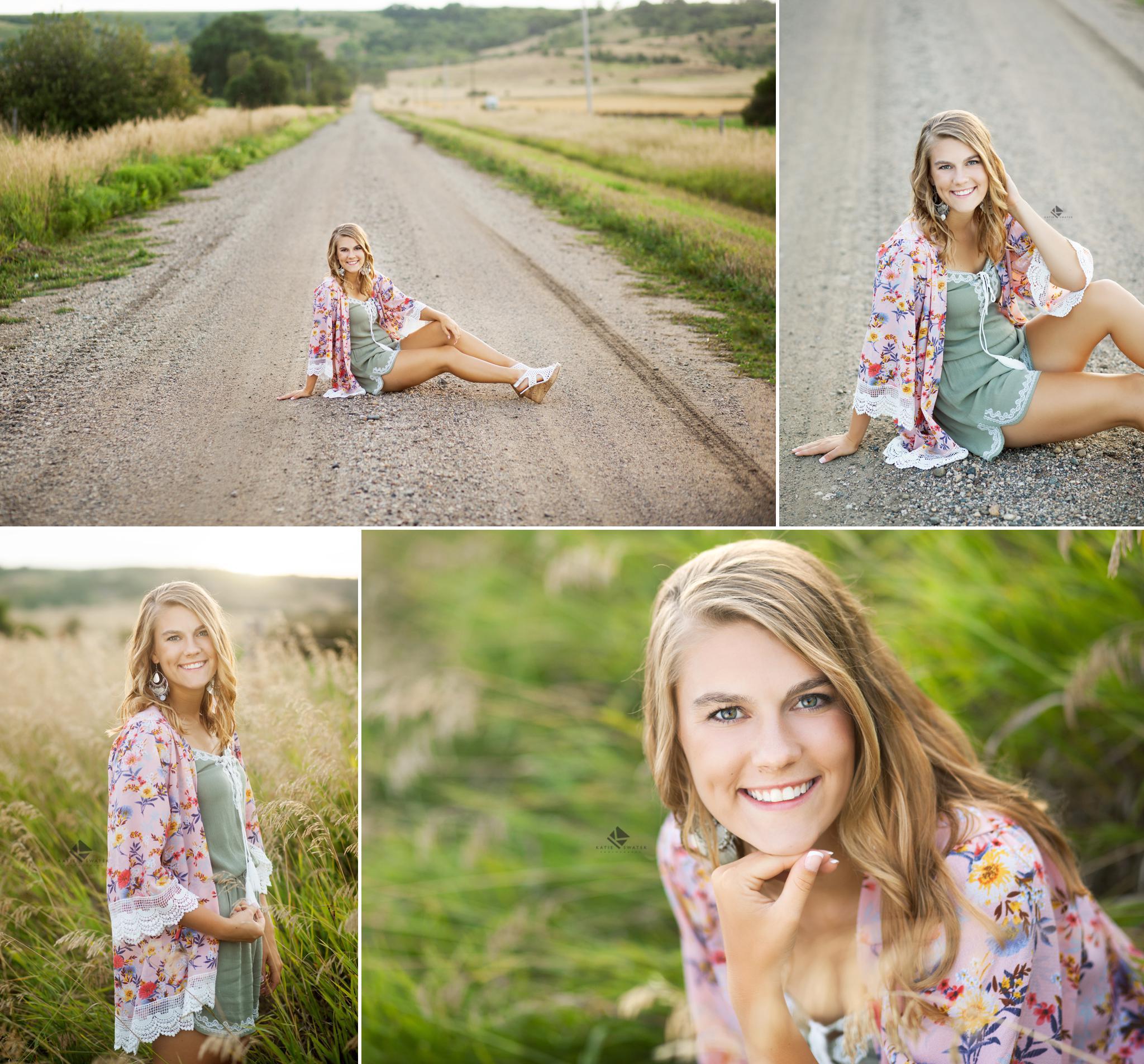 blonde senior girl in a pink kimono on a gravel road