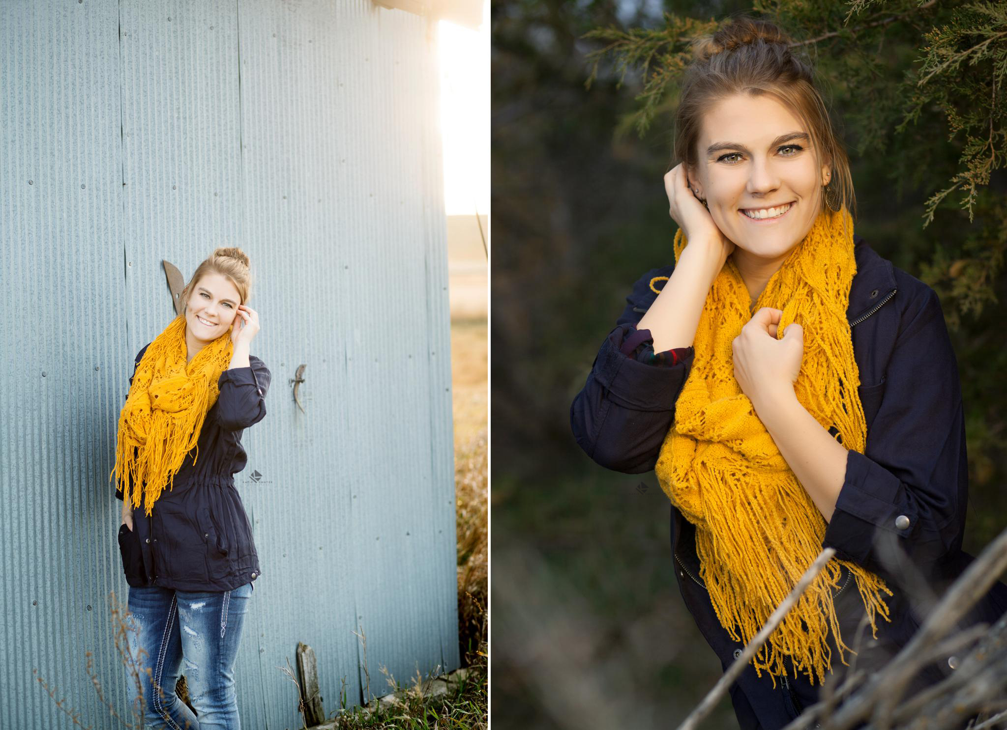 blonde senior girl in blue jacket and mustard colored scarf in fall foliage