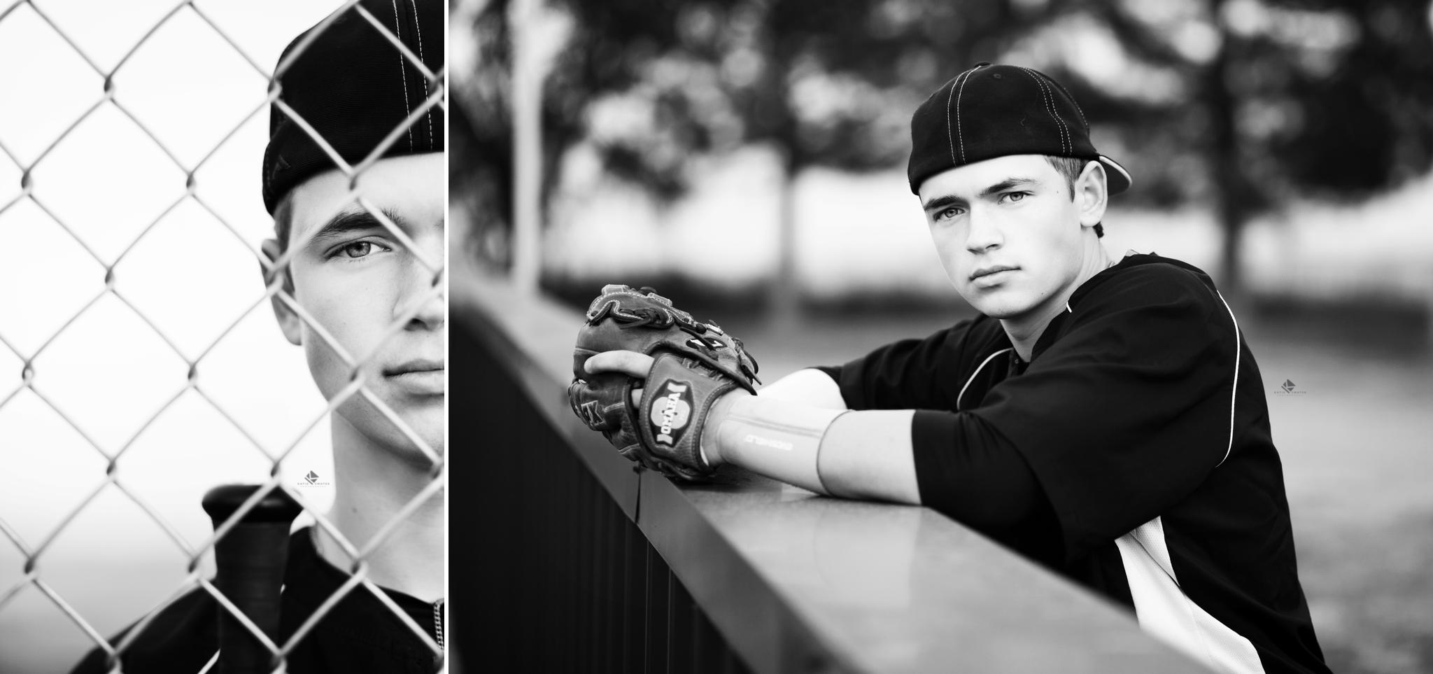 blonde senior boy in baseball jersey on the ball field image in black and white