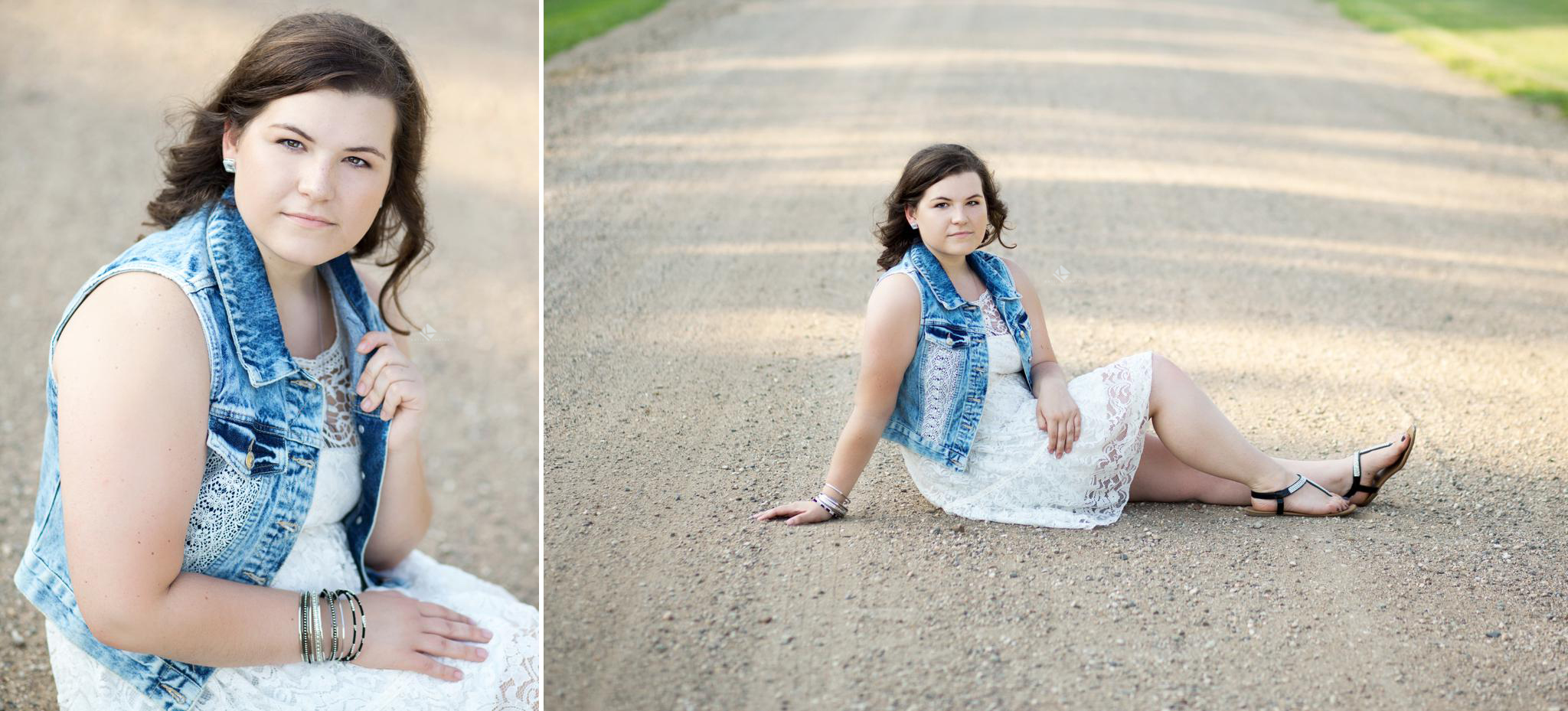 a brunette senior girl in a white dress and denim vest on a gravel road in the country
