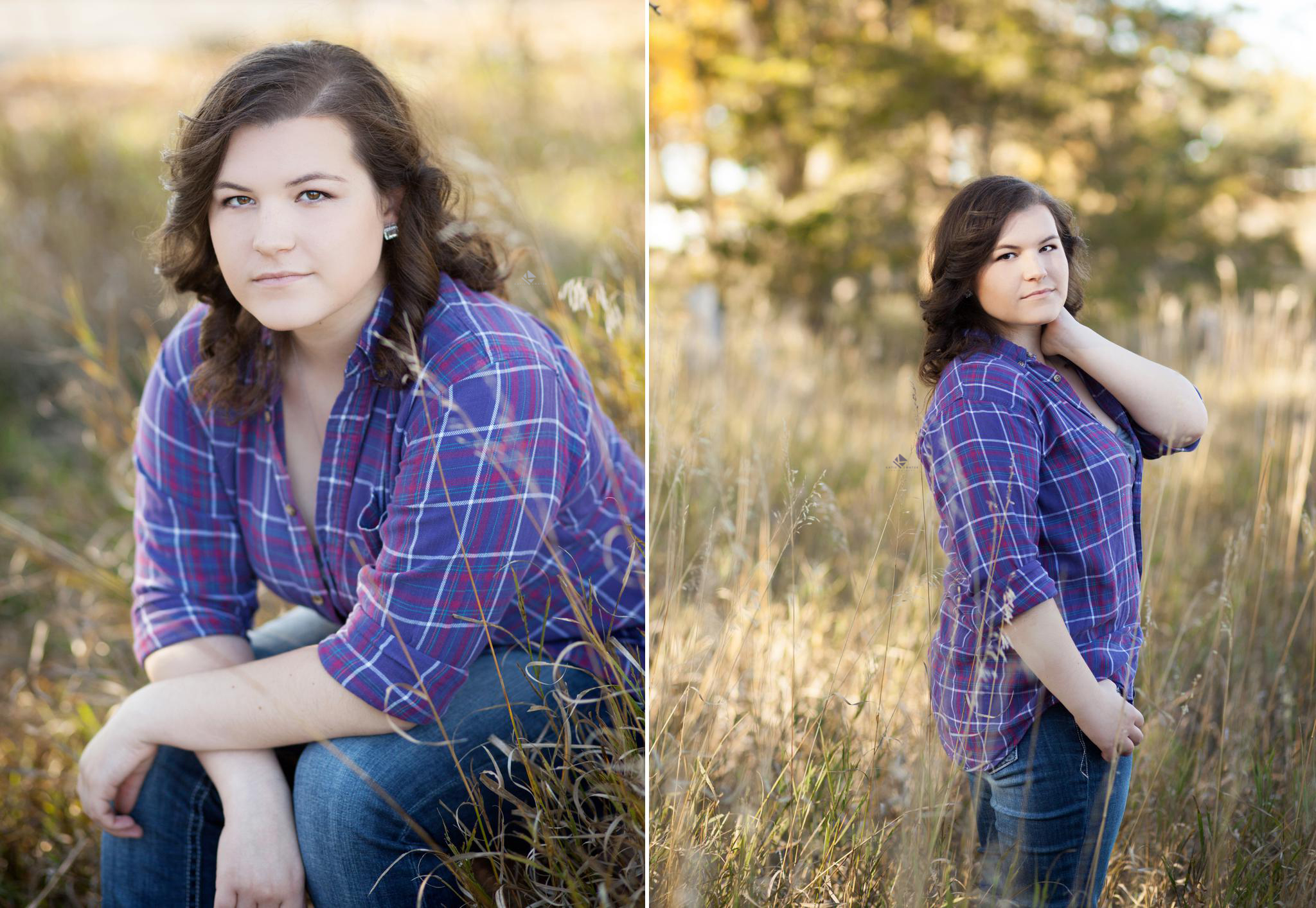 A brunette senior girl in a purple plaid shirt sitting in tall grass