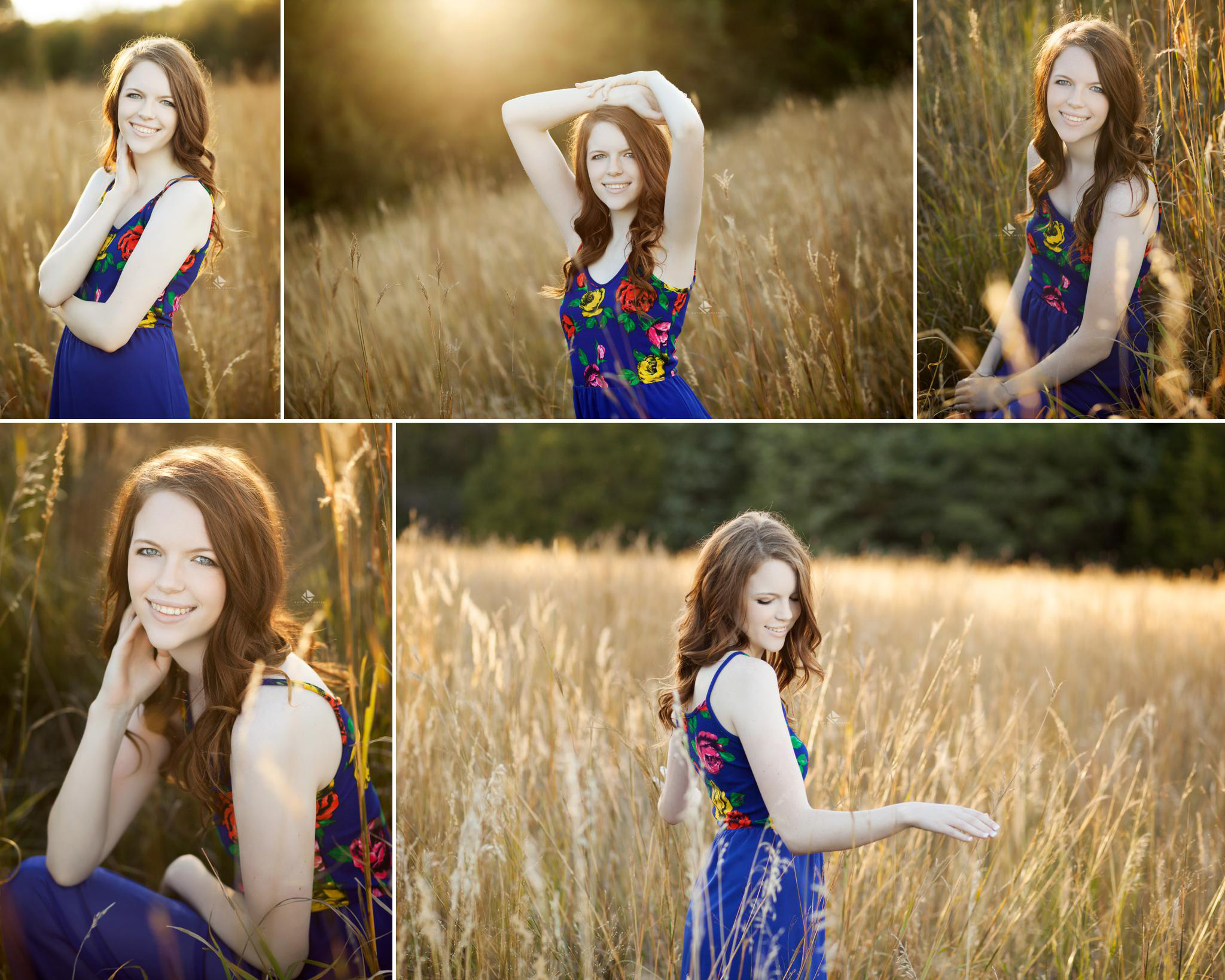 red headed senior girl in a blue, printed maxi dress in a tall grass field