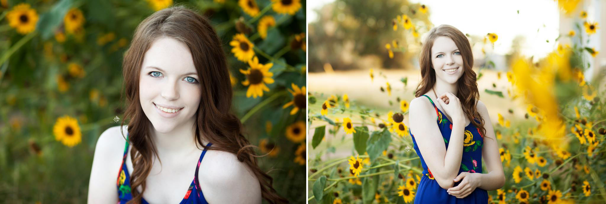red headed senior girl in a blue printed maxi dress standing next to sunflowers