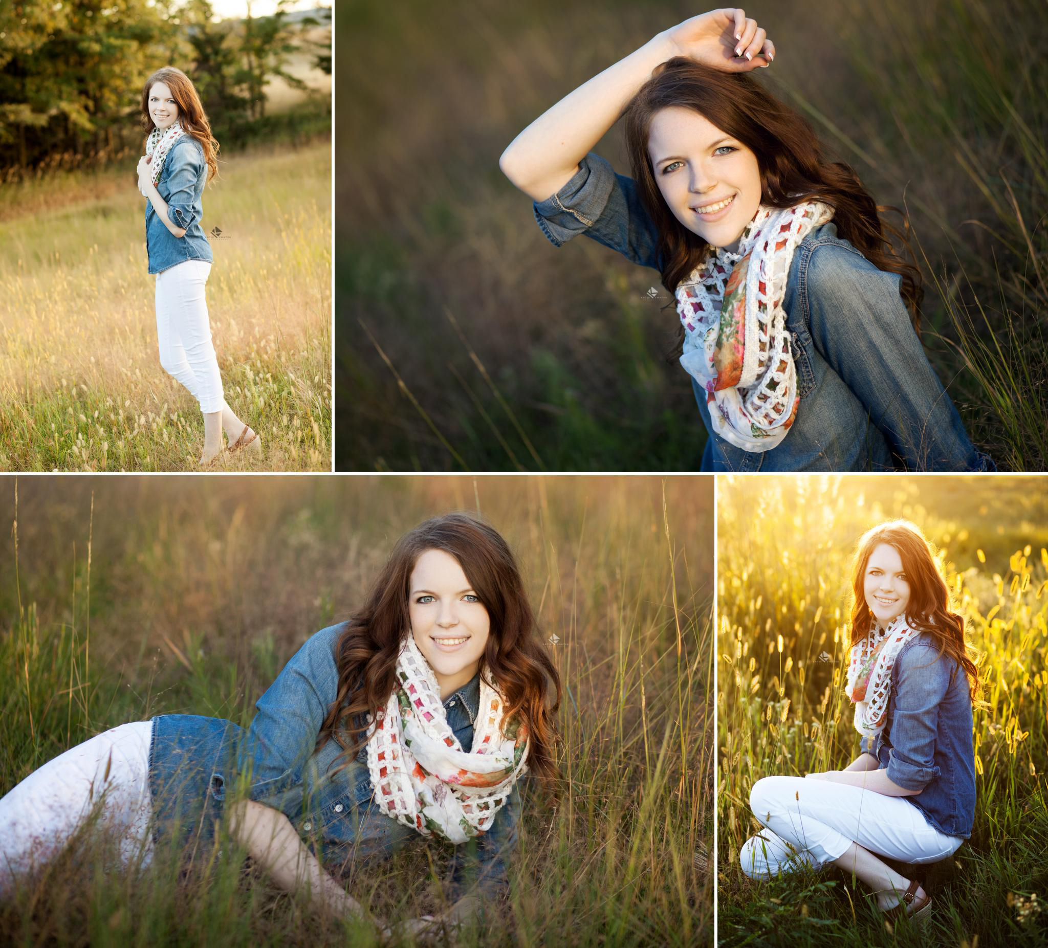 red headed senior girl in denim top with white pants in a green grass field