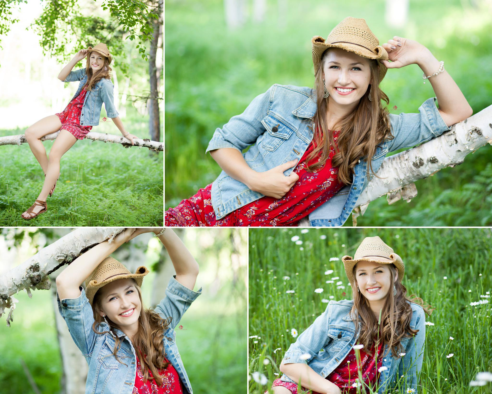 blonde senior girl in a red romper and a denim jacket wearing a cowboy hat sitting on some downed birch trees and in a flower field