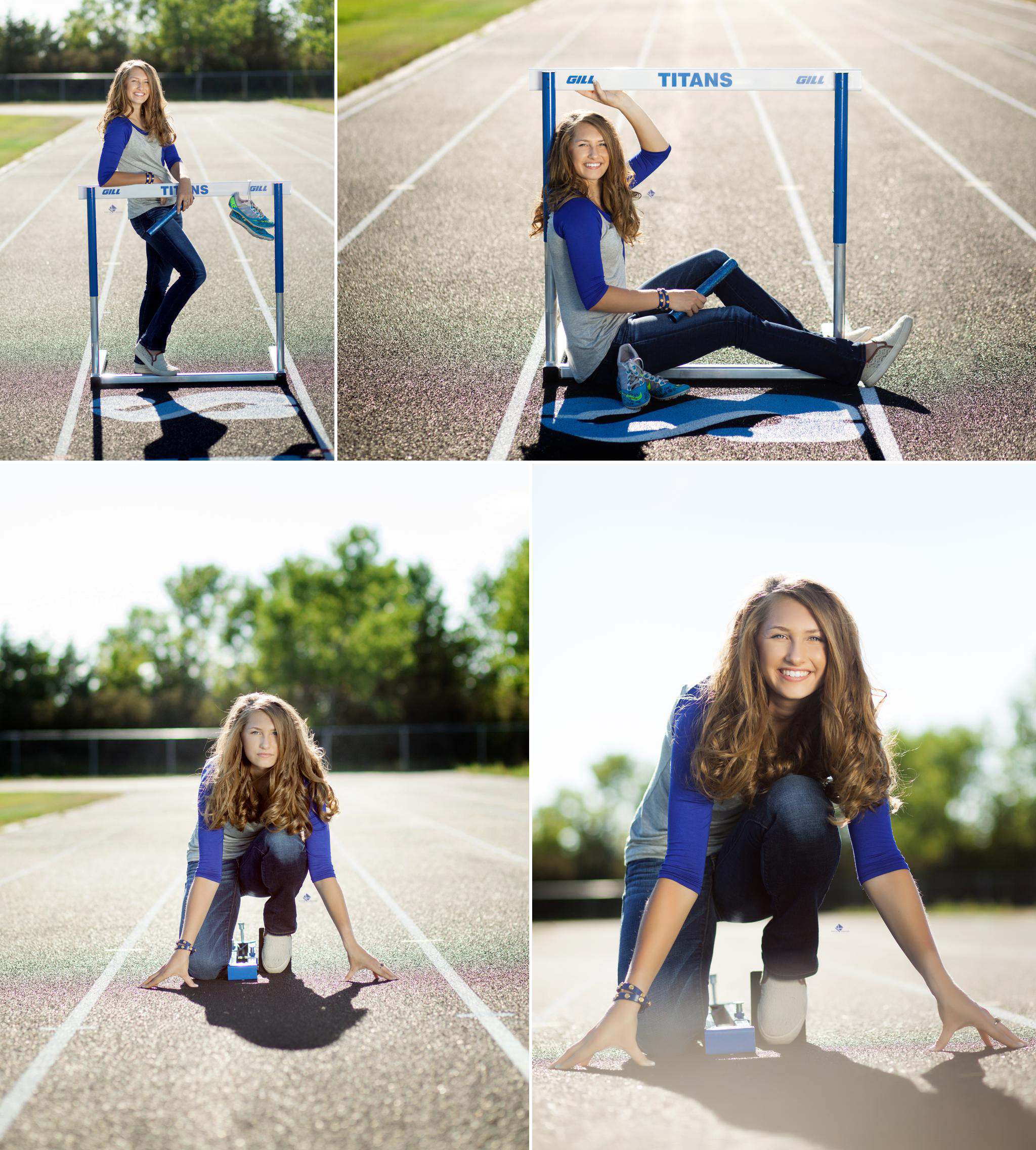 blonde senior girl in a blue and gray baseball tee posing on a high school track with hurdles