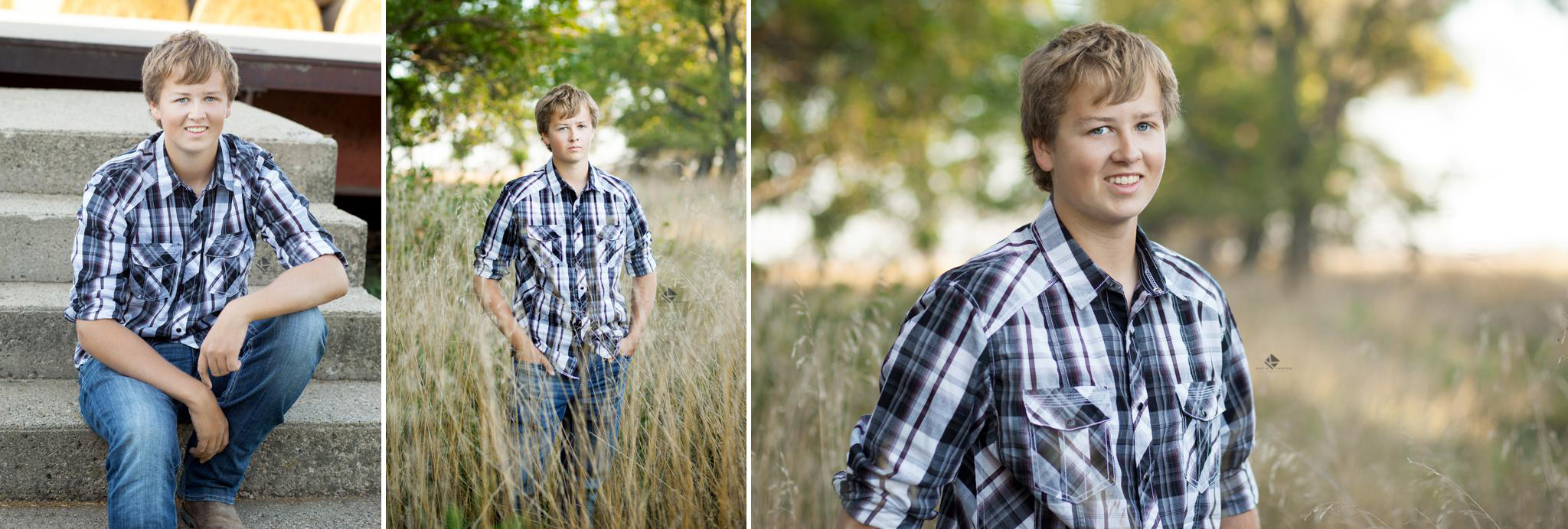 blonde senior boy in a black and white plaid shirt standing in a field of tall grass and sitting on cement stairs
