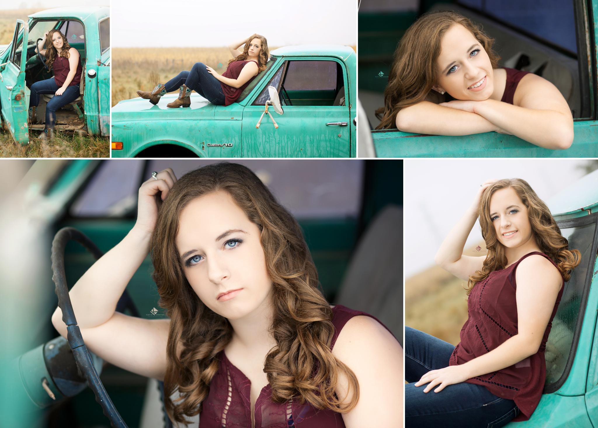 brunette senior girl in a wine colored tank top leaning against a turquoise old truck