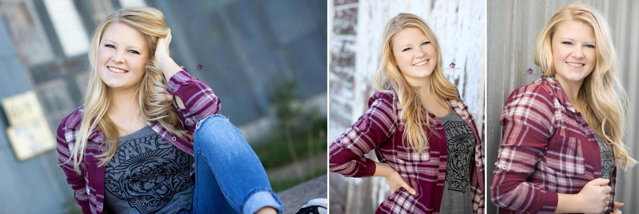 Blonde senior girl in a purple plaid shirt posing in front of corrigated steel