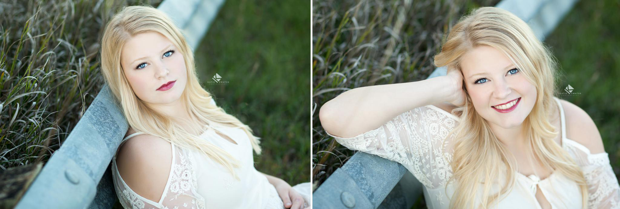 blonde senior girl in a white lace dress sitting next to a road divider in a tall grass field in scotland sd