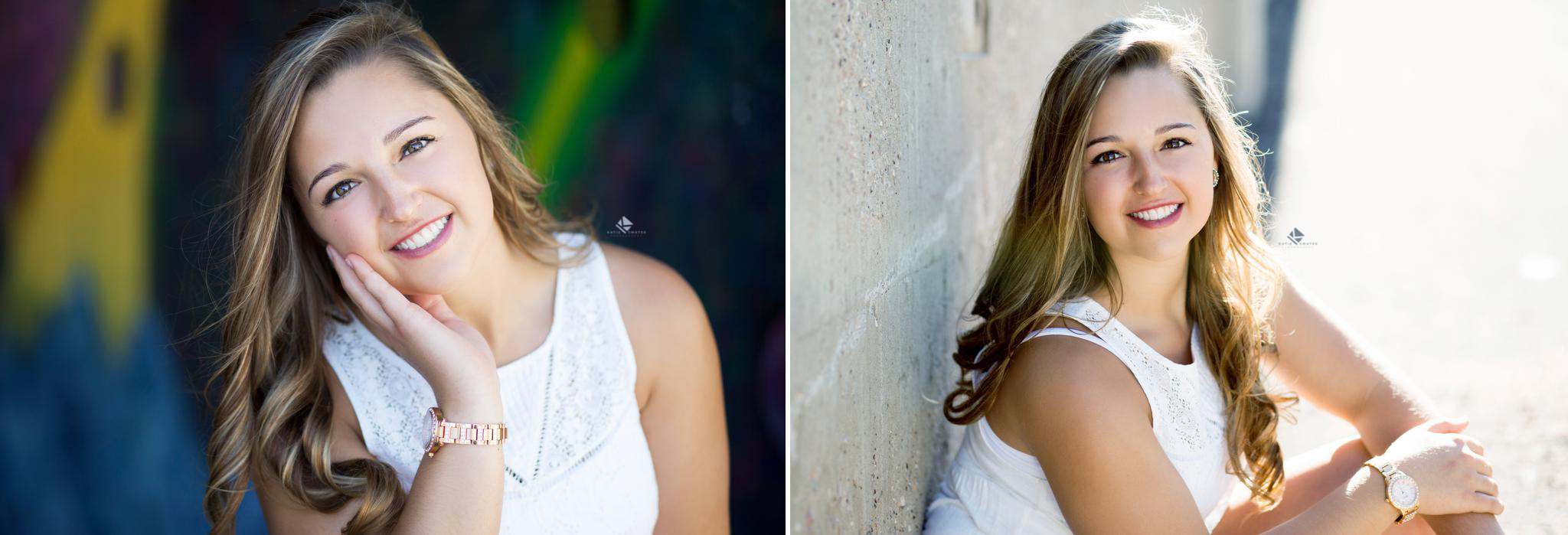 brunette senior girl in a white top in front of brick walls in deadwood south dakota
