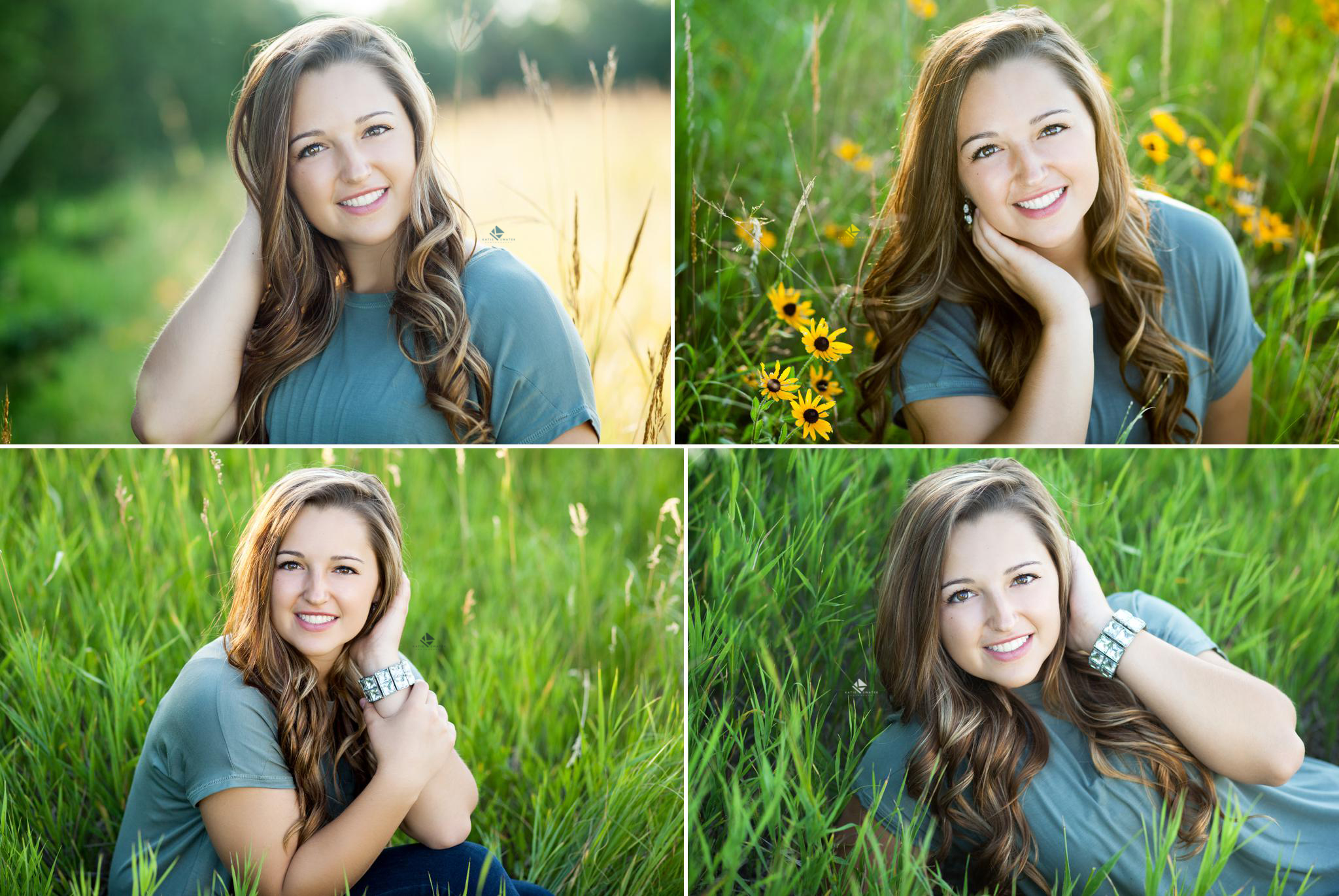 brunette senior girl in a green top sitting in a field of yellow wildflowers