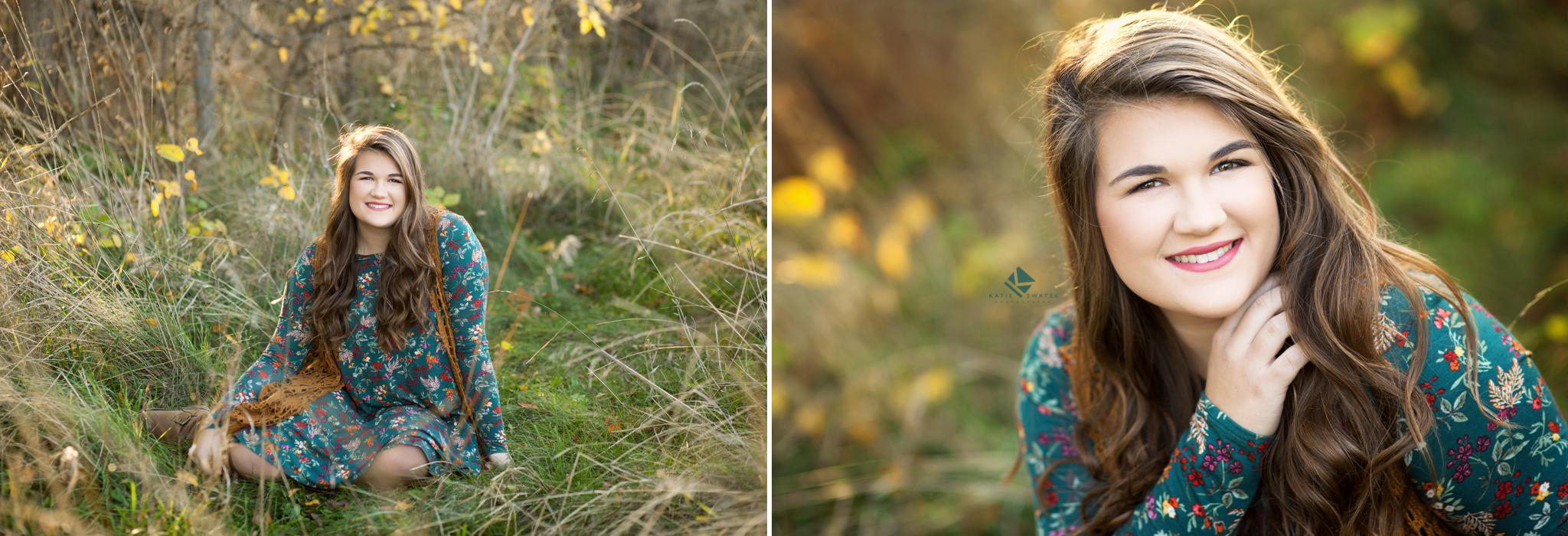 brunette senior girl in a blue floral dress with a mustard crocheted vest sitting in a fall colored field