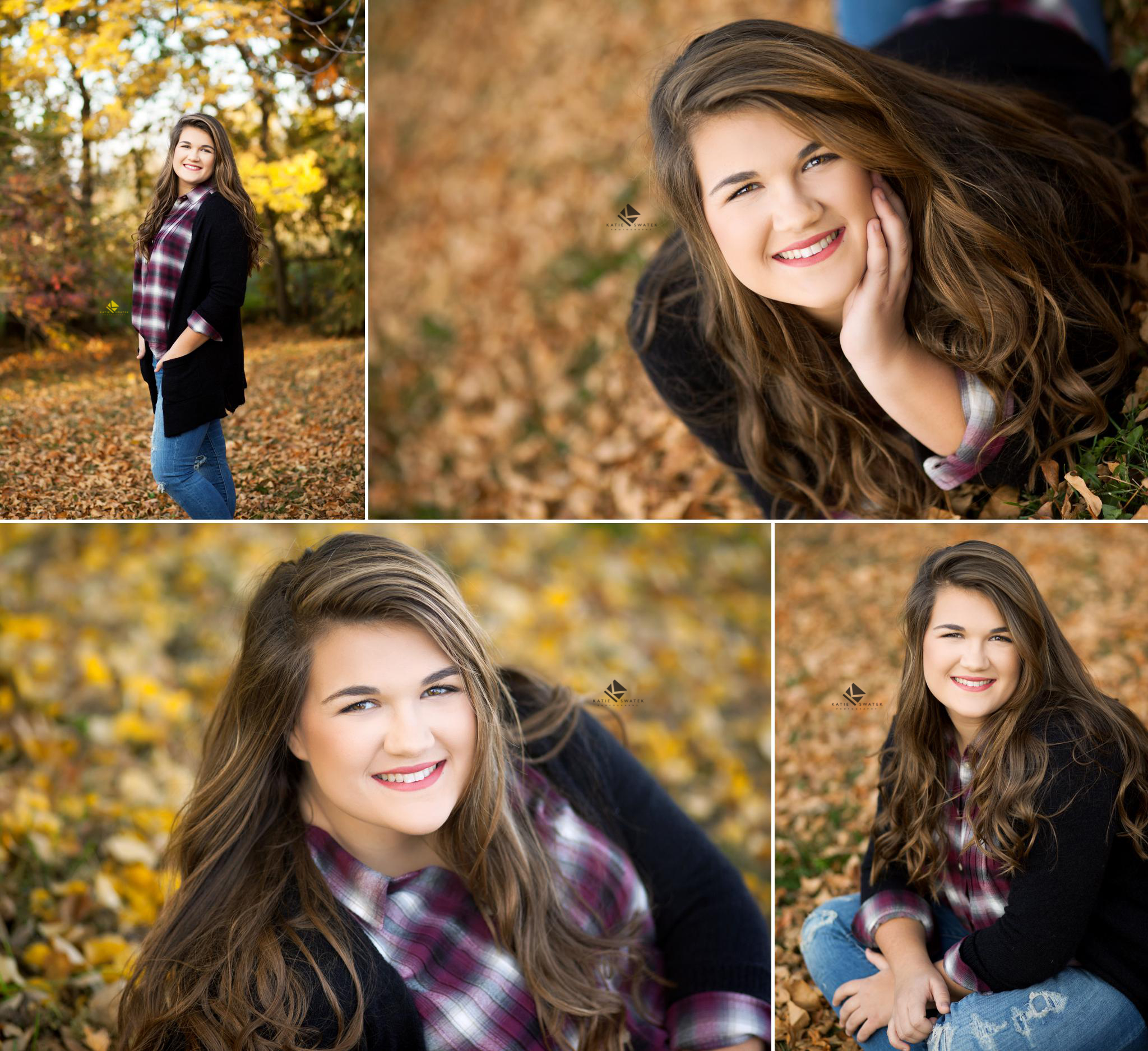 brunette senior girl in a maroon plaid top with a black cardigan posing for senior pictures in yellow fall leaves