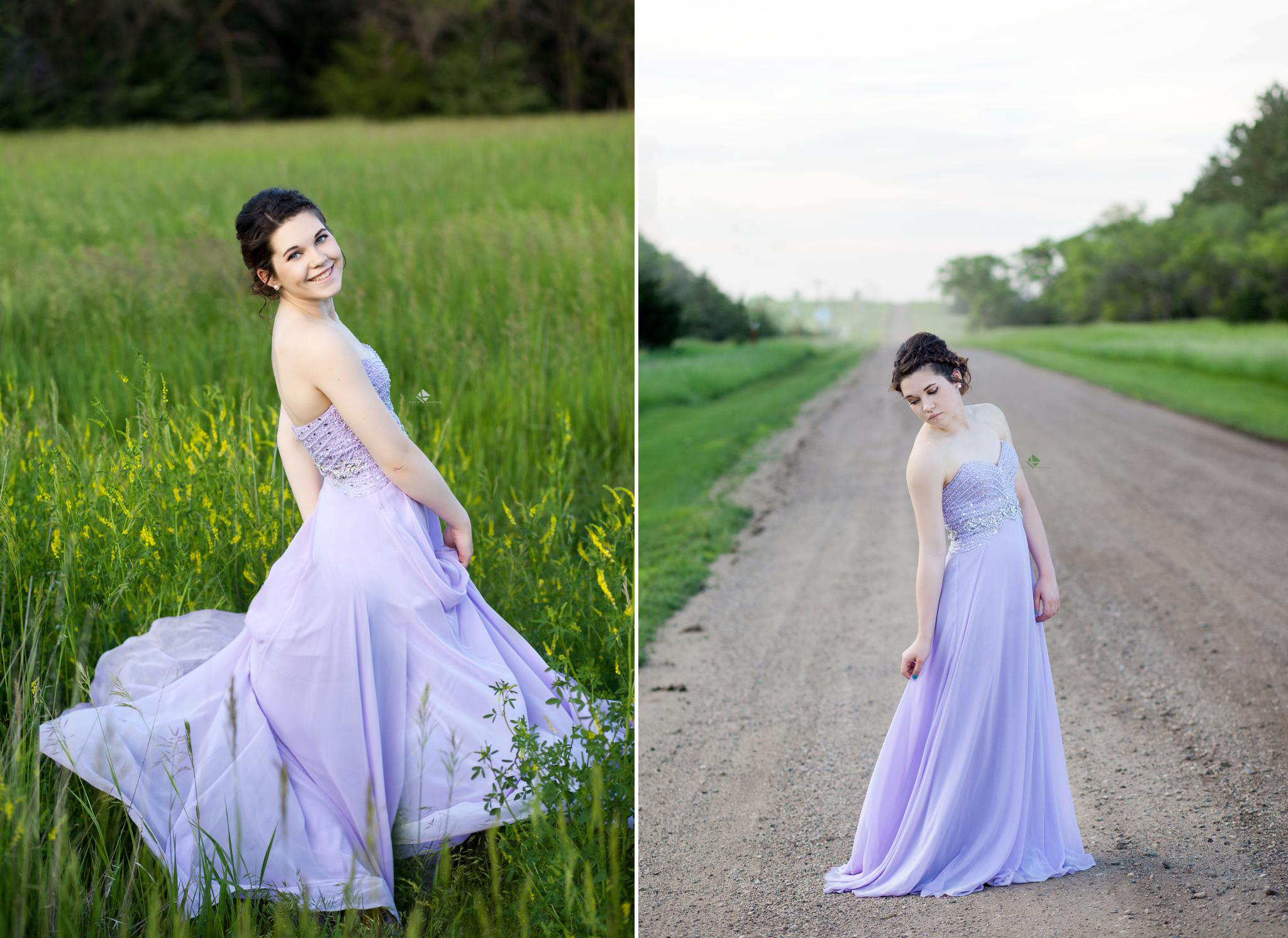 brunette senior girl in a lavender prom dress twirling in a green field and standing on a gravel road