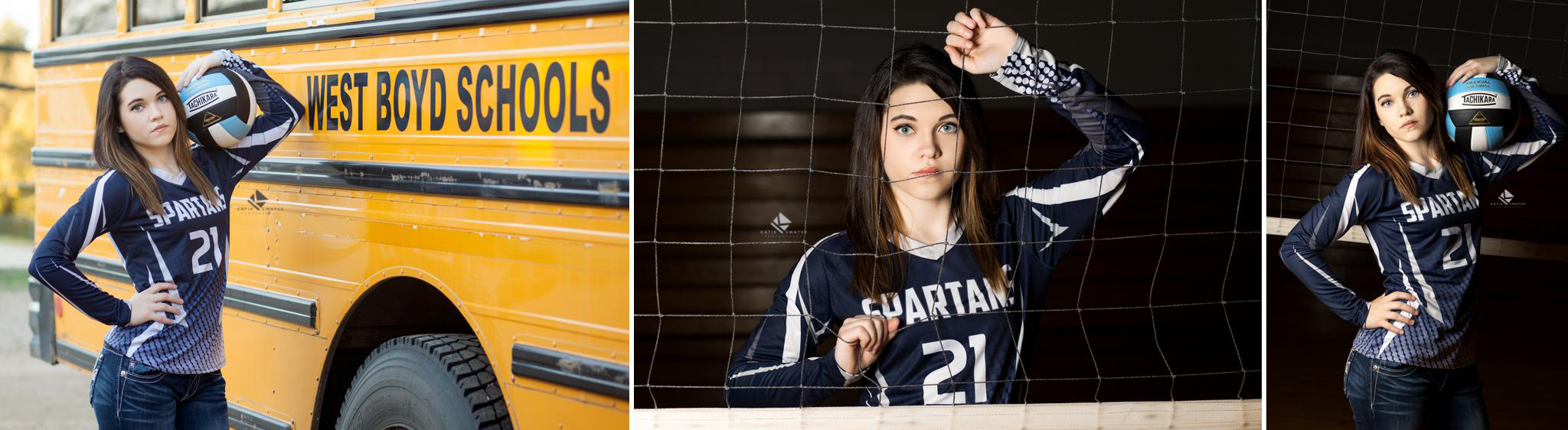 brunette senior girl in a west boyd high school volleyball jersey posing next to her school bus and in her high school gym