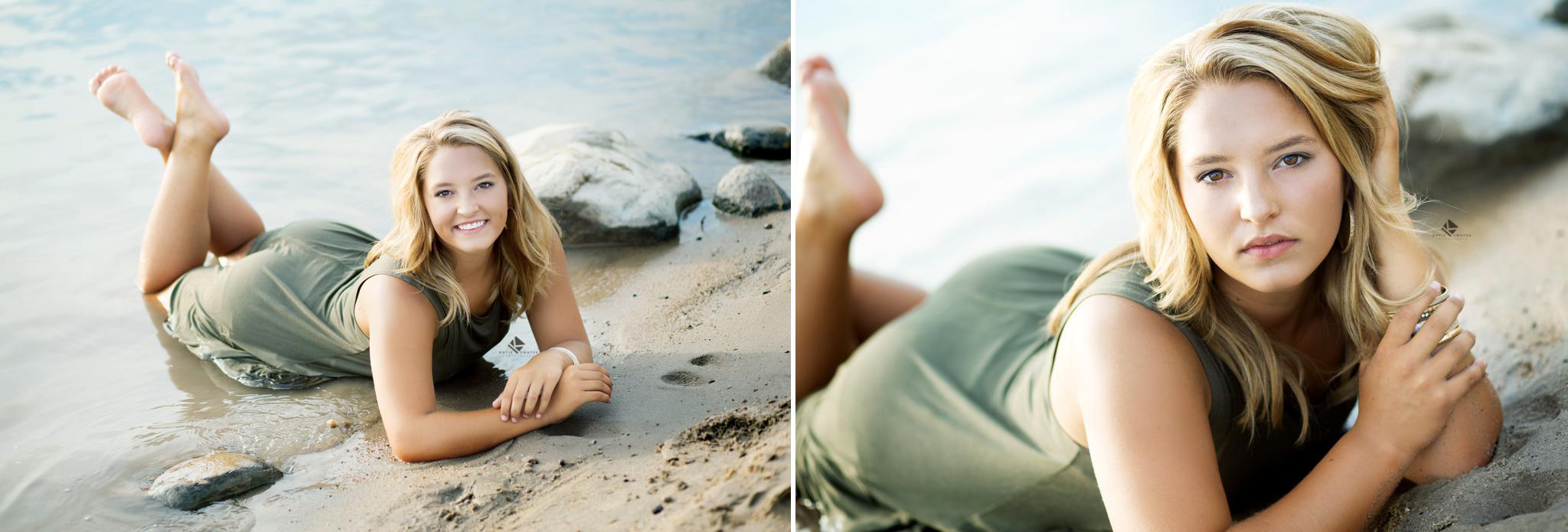 blonde senior girl in a olive green cotton dress laying on her stomach on the beach half in the water these shots were taken in Pickstown SD