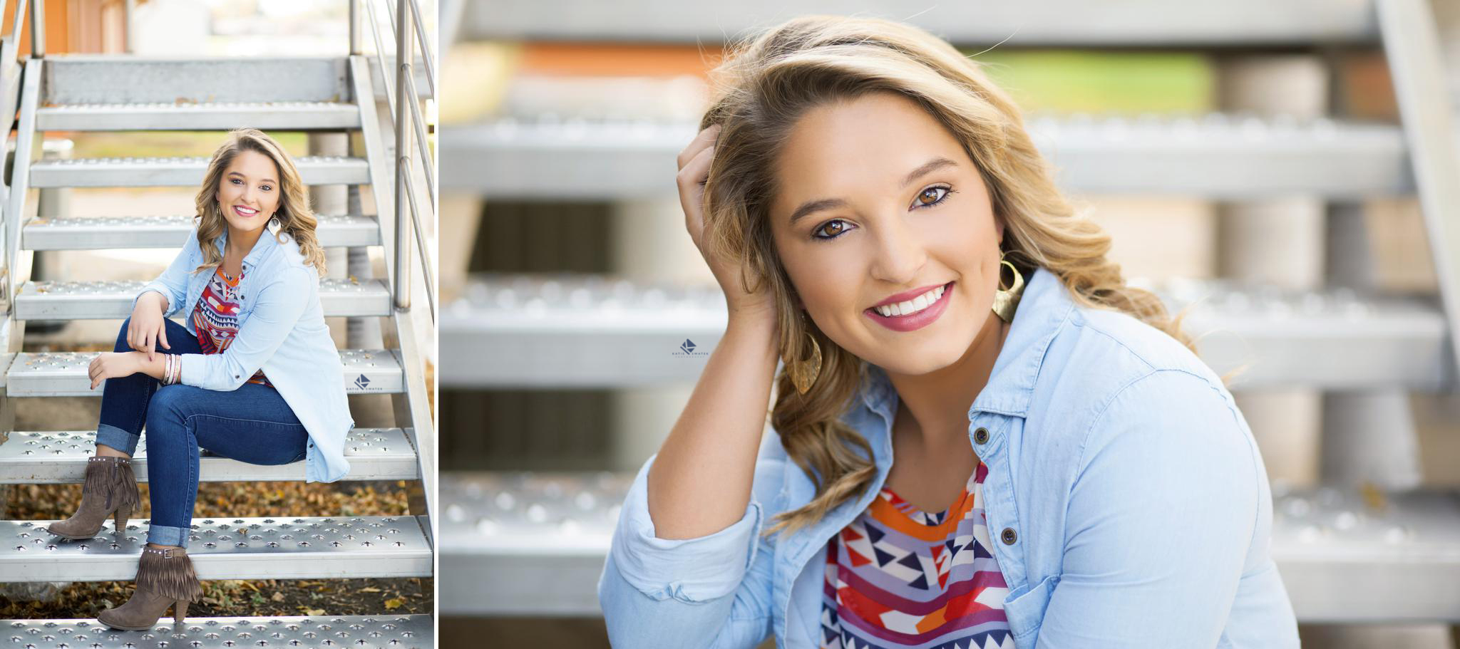 Blonde senior girl in a tribal patterned shirt with a chambray long sleeve sitting on a set of silver steps in wagner south dakota