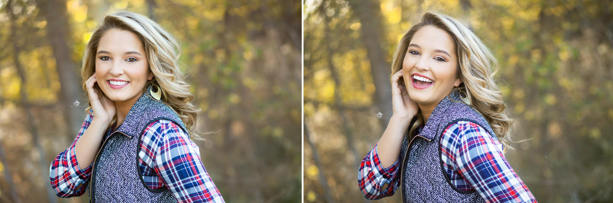 blonde senior girl in a plaid shirt and a wool vest standing in fall foliage laughing