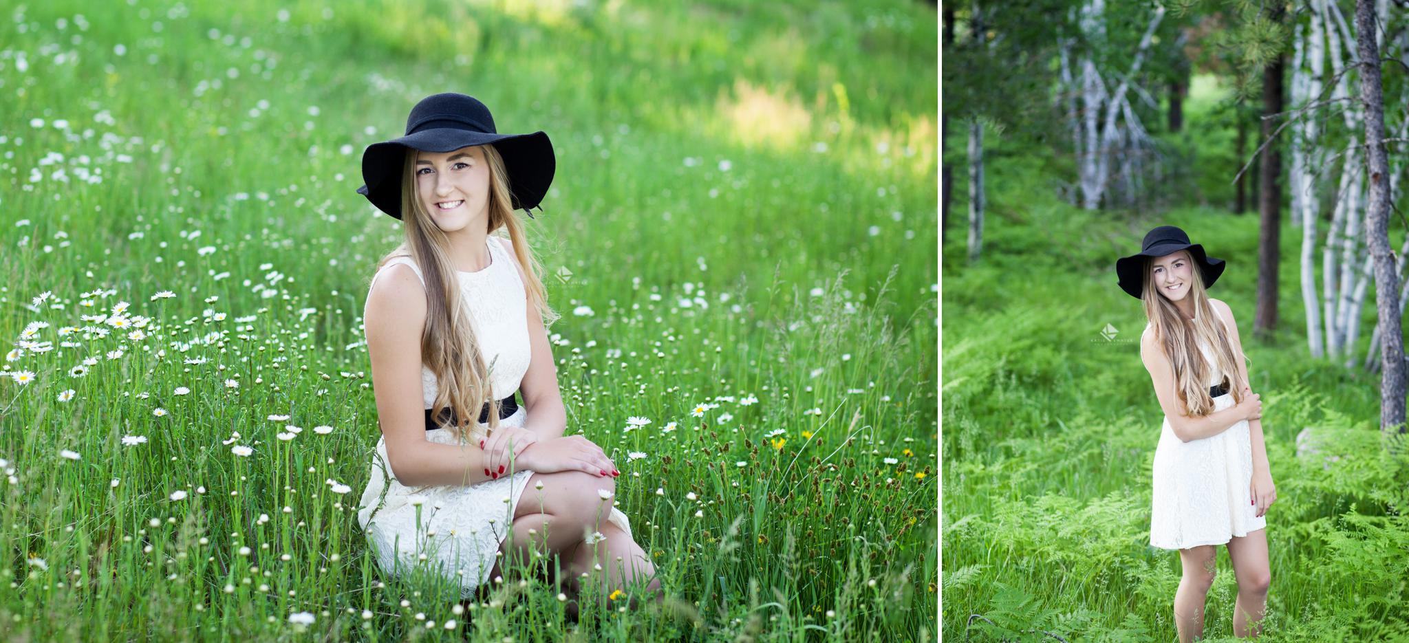 blonde senior girl in a white dress and a black summer hat posing in a wildflower field and among birch trees in the black hills national forest