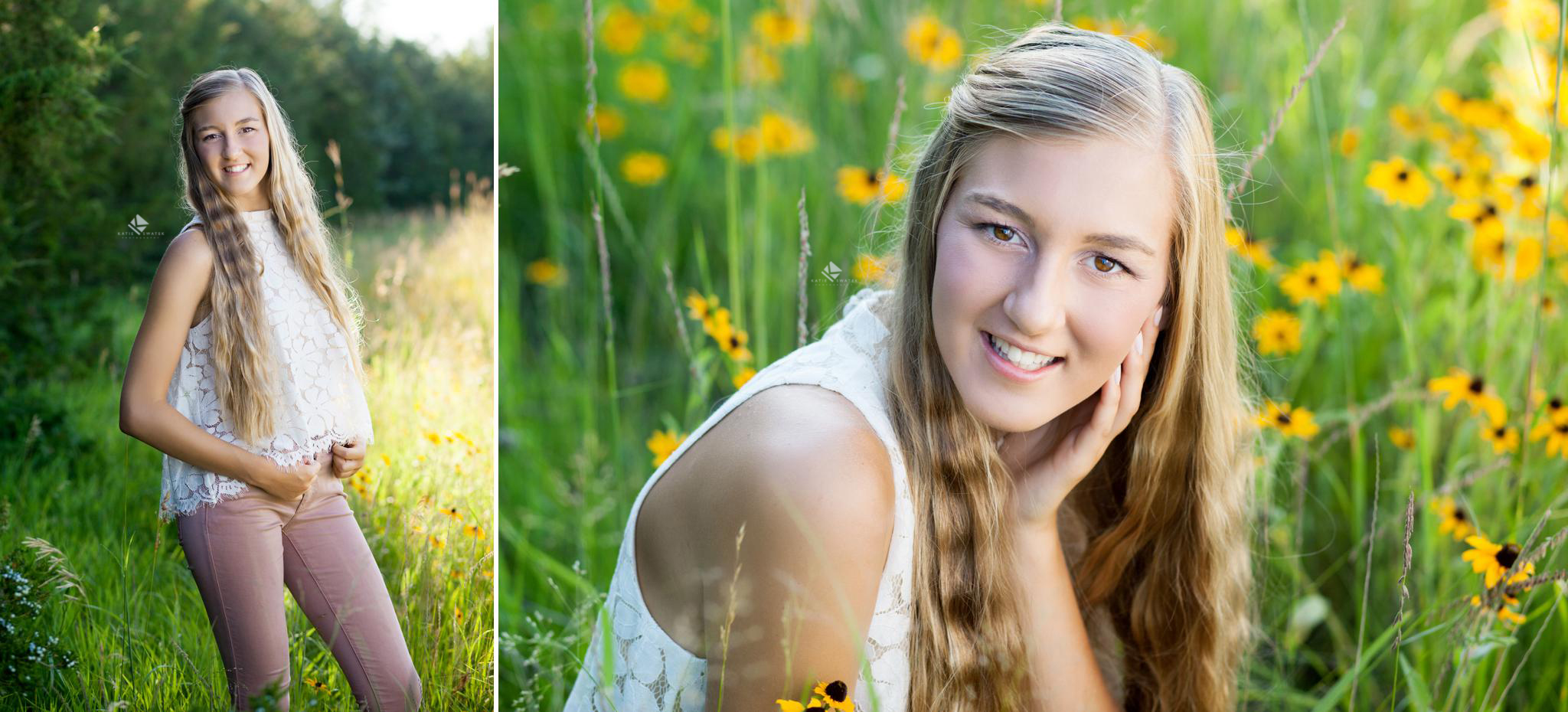 blonde senior girl in a white lace top and mauve pants posing in a wildflower field in South Dakota