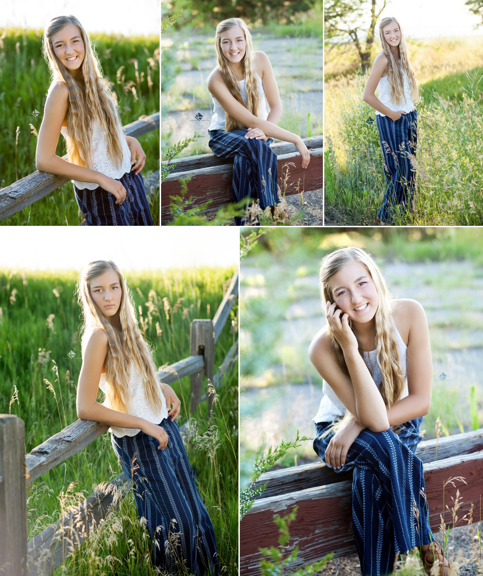blonde senior girl in a lace white top with navy boat pants posing in tall grass