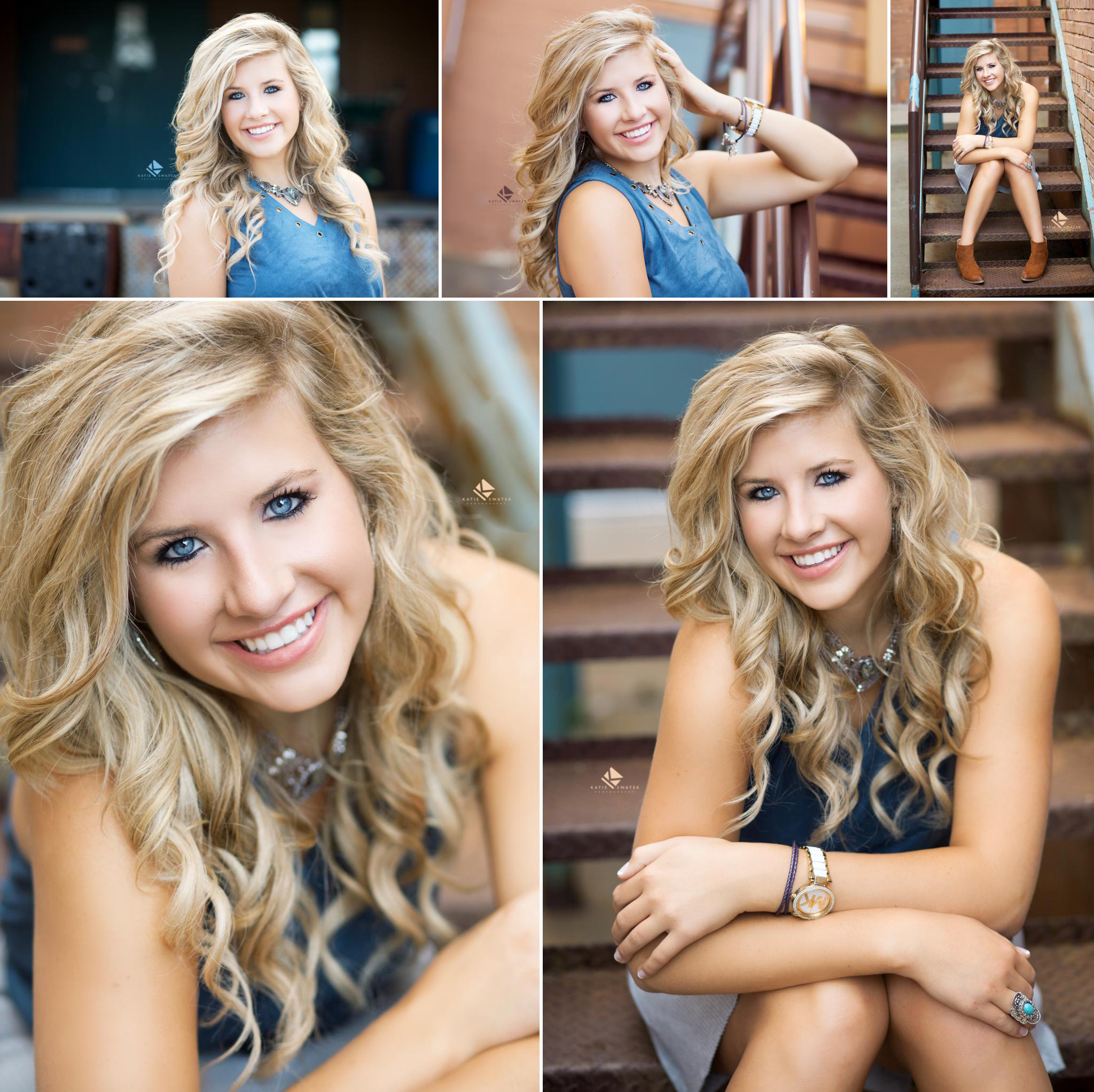 blonde senior girl in a blue top sitting on a metal staircase in an urban location in Wagner SD