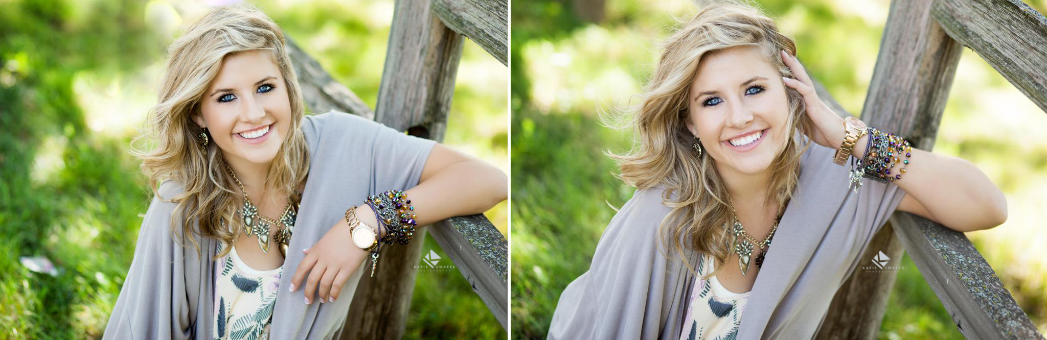 blonde senior girl in a lavender cardigan photographed by a fence