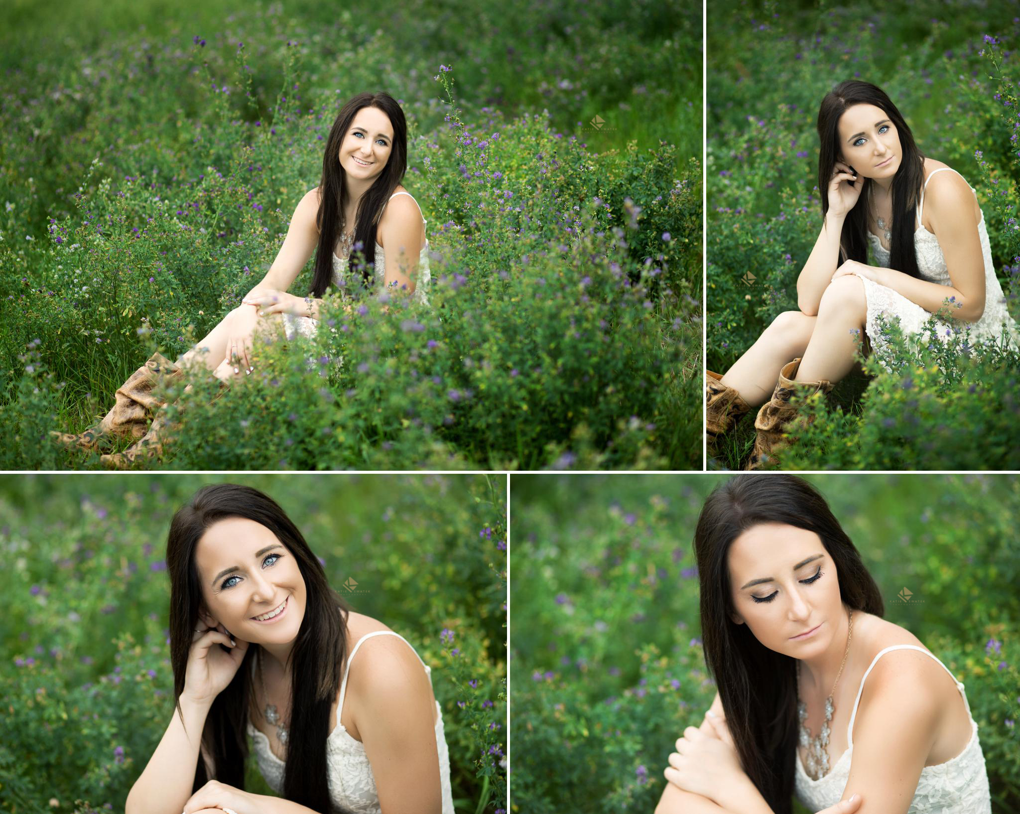 brunette senior girl in a white dress and cowboy boots posing in an alfalfa field for senior pictures in Pickstown SD