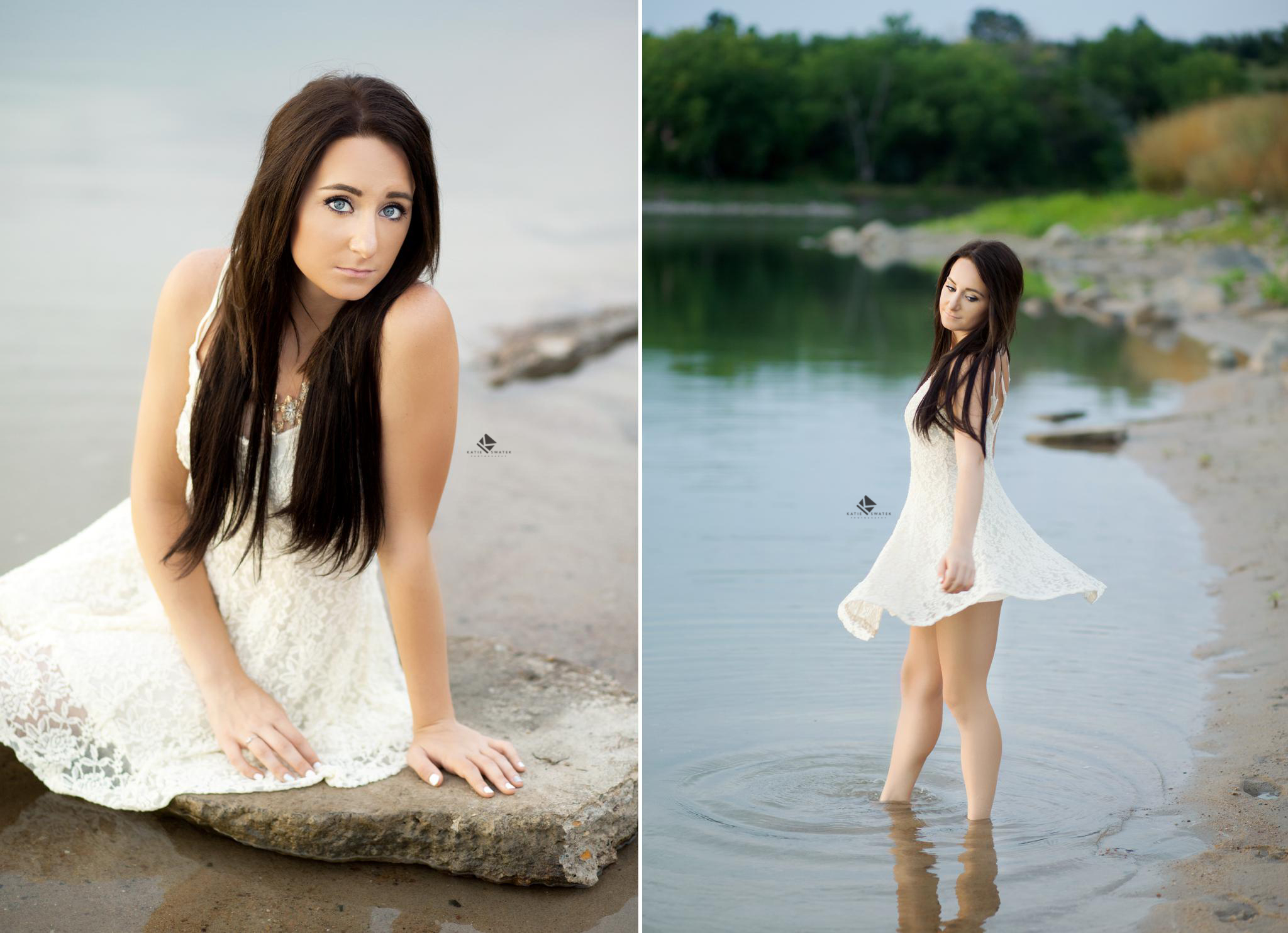 brunette senior girl in a white dress posing and twirling on the beach in Pickstown SD