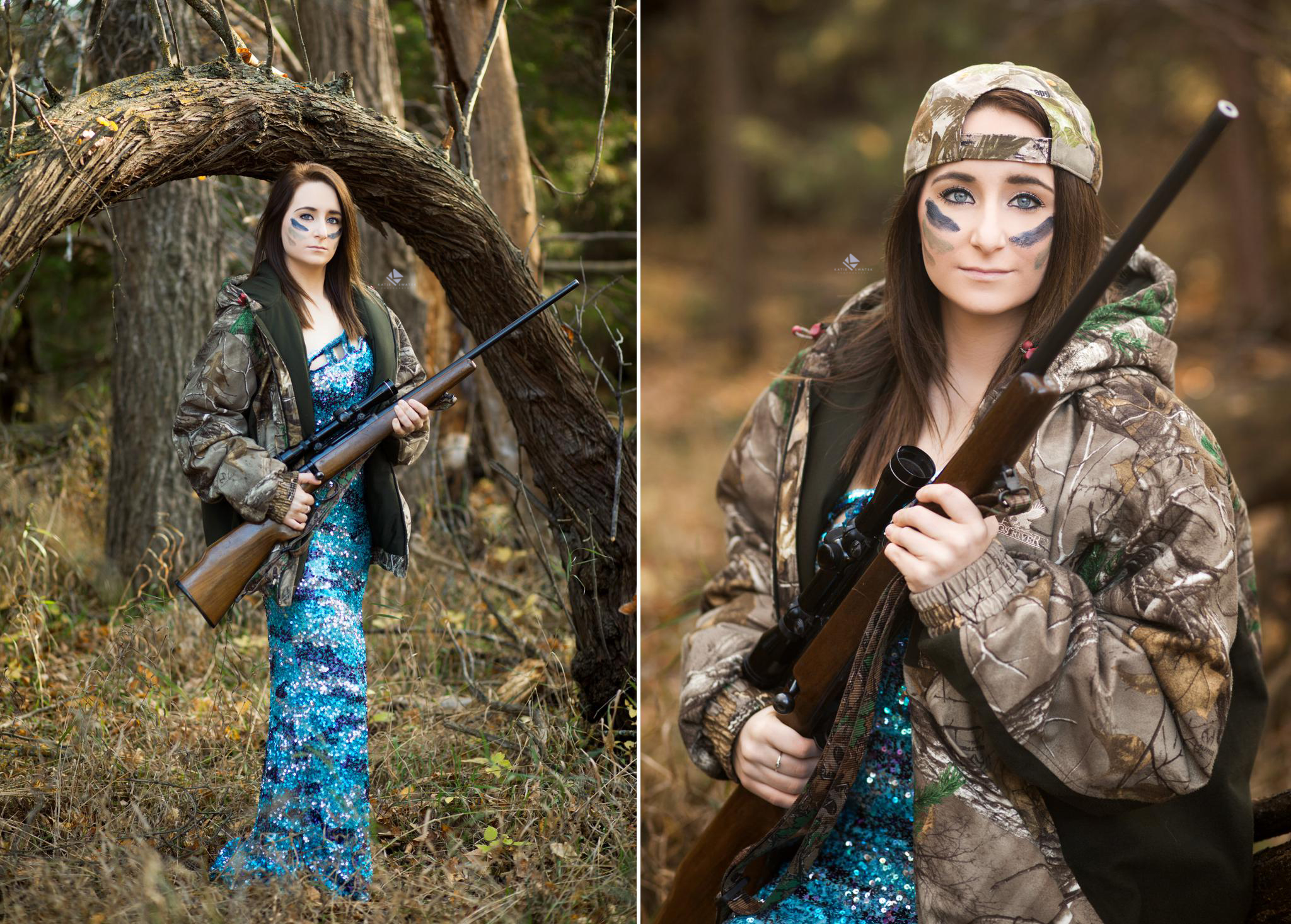 brunette senior girl in a blue sequined prom dress with a camo jacket and face paint posing with a gun in the forest.