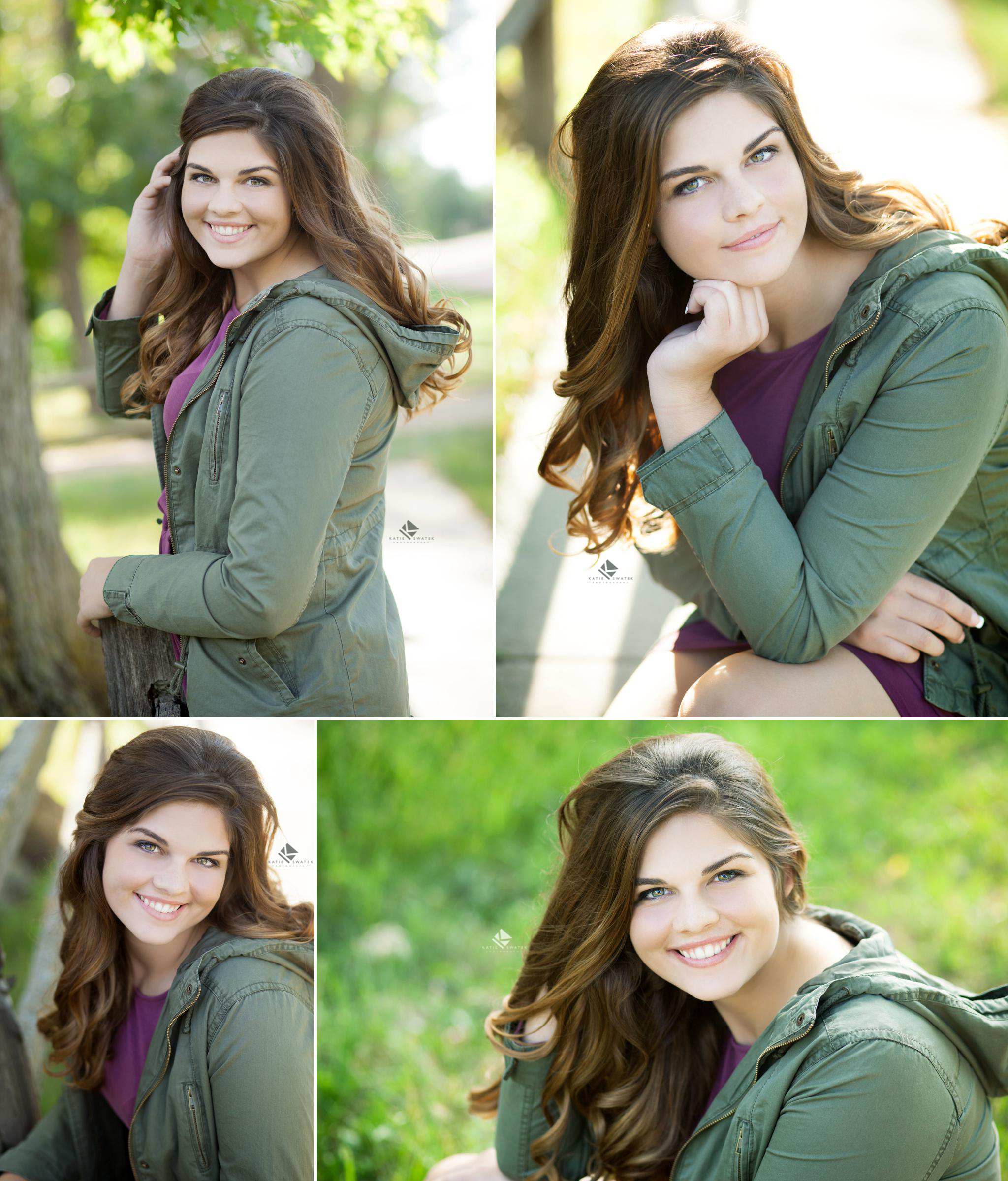 brunette senior girl in an olive jacket over a purple dress by a wooden fence in Lake Andes SD