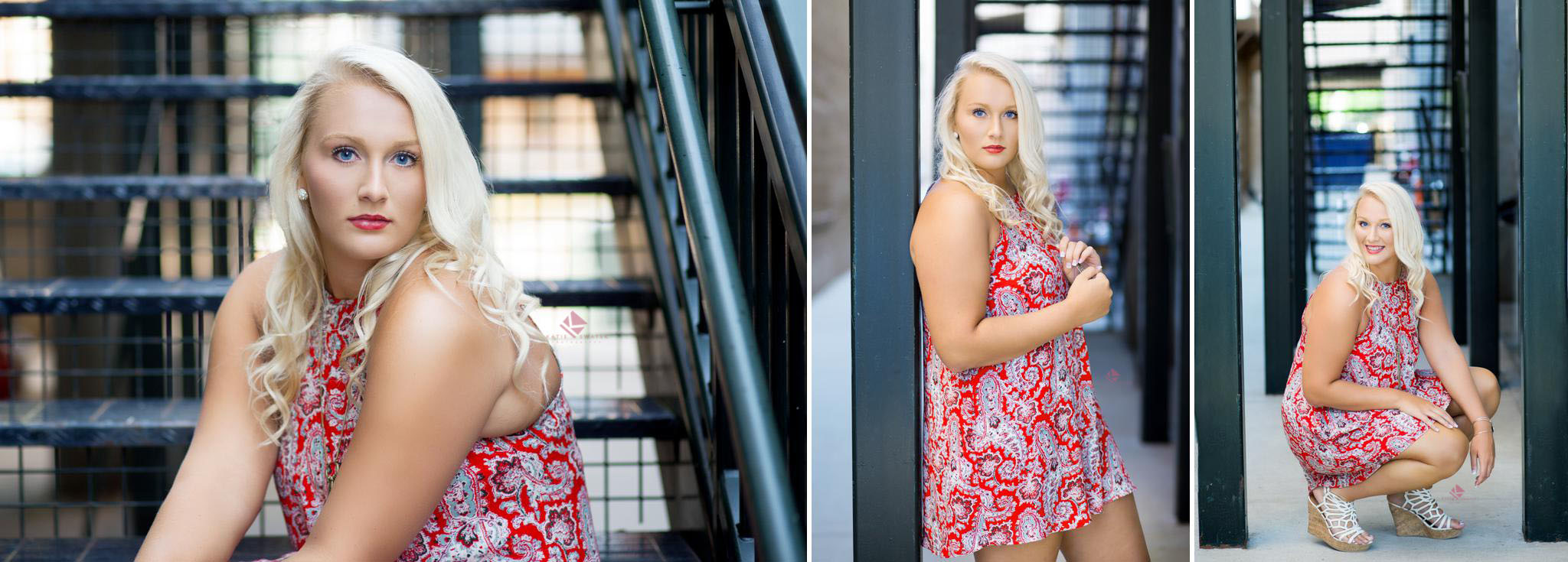 blonde senior girl in a red paisley dress sitting on a staircase in downtown Deadwood SD