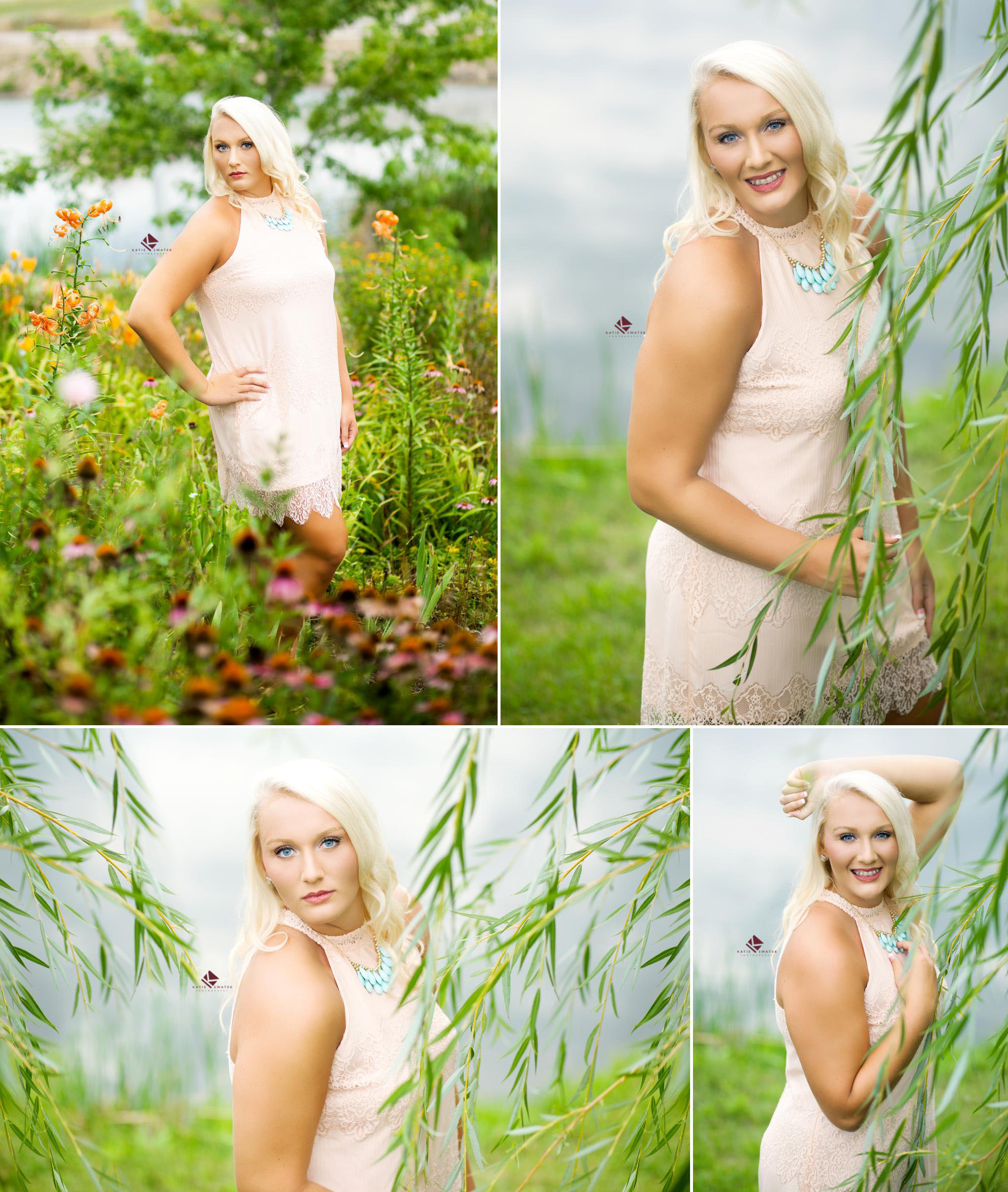 blonde senior girl in a blush colored dress standing by a willow tree swaying in the wind