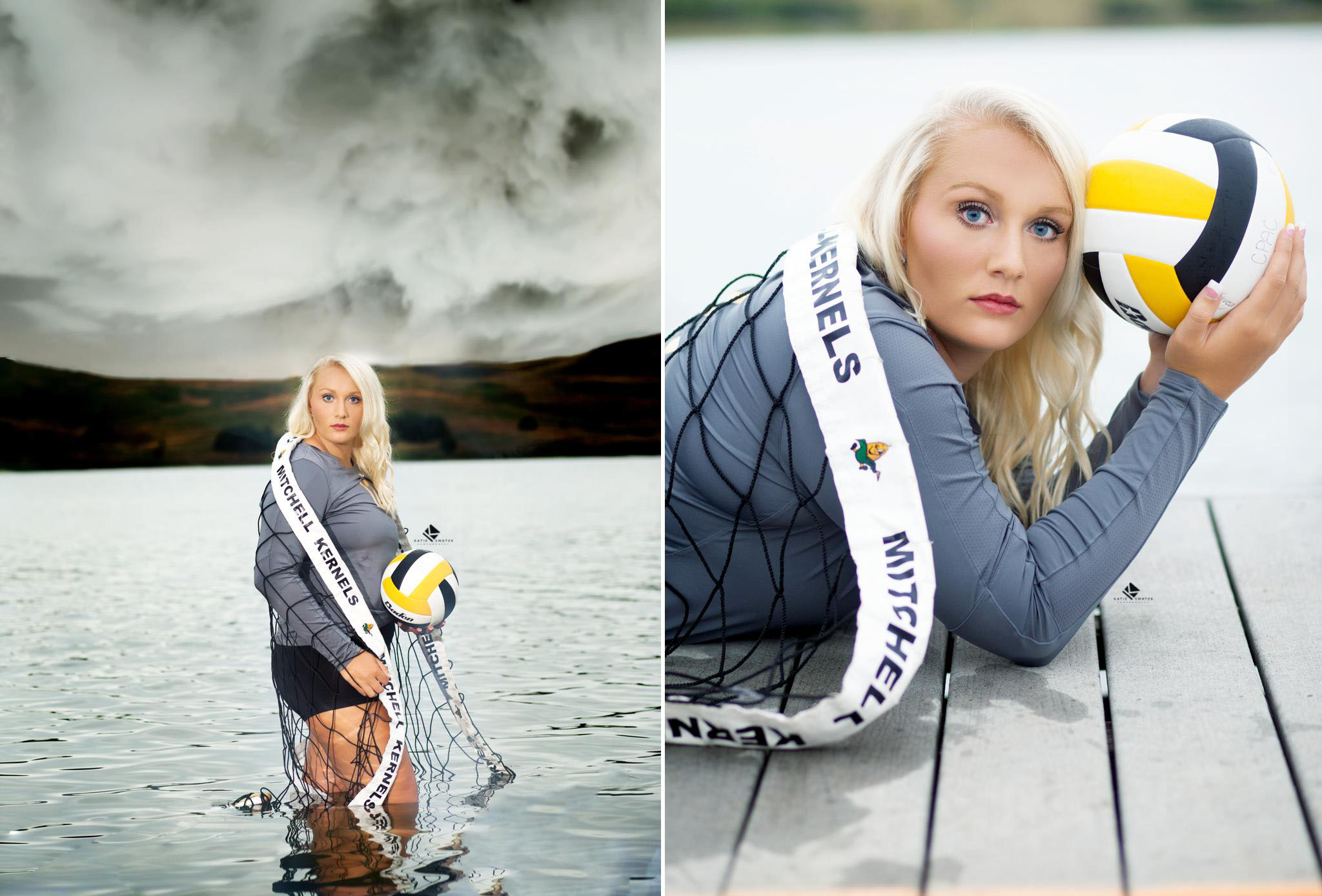 blonde senior girl in a Mitchell Kernels volleyball jersey standing in the river with a volleyball and a volleyball net