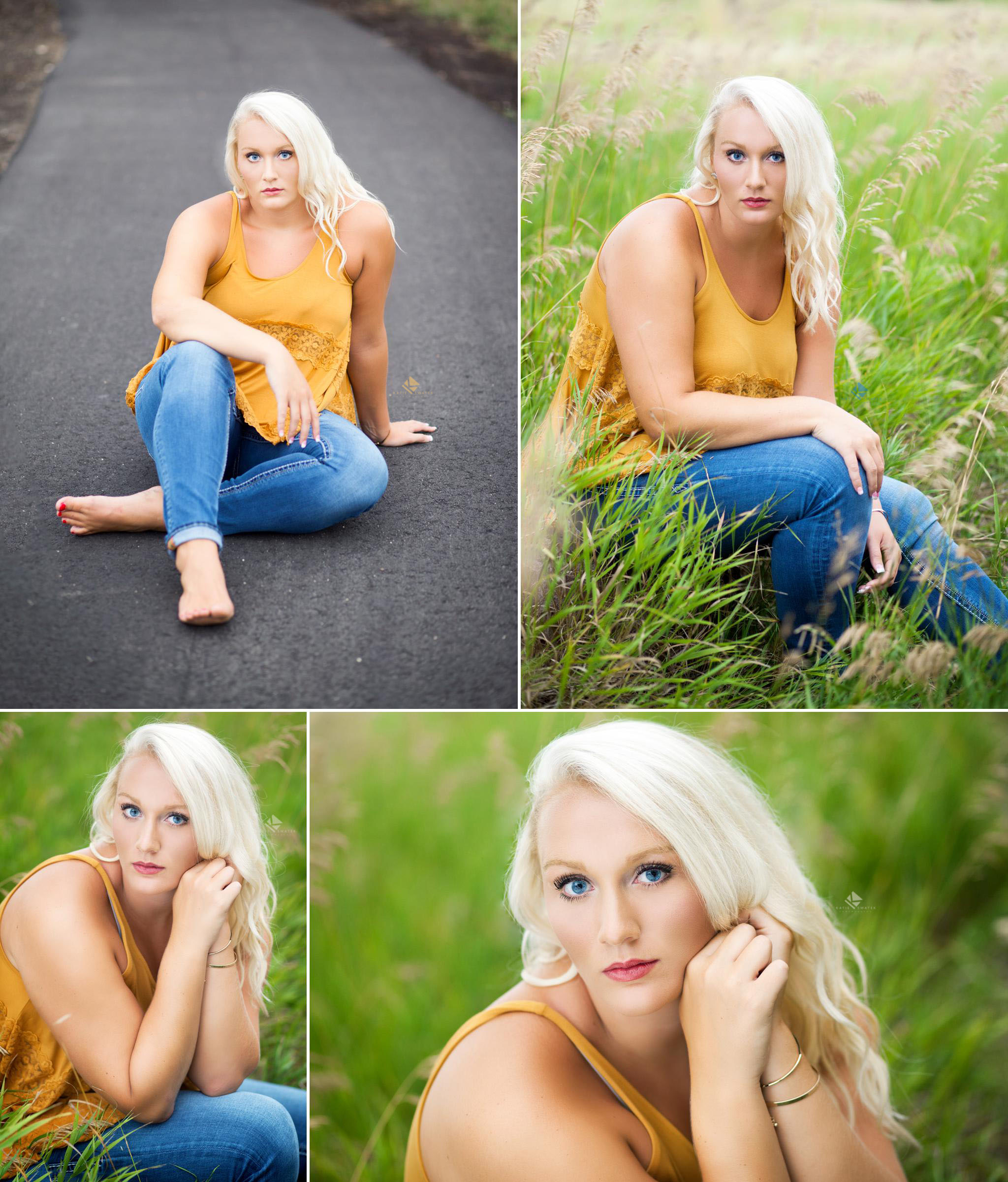 blonde senior girl in a mustard colored tank top and a pair of jeans sitting on a road and sitting on a rock in a green field