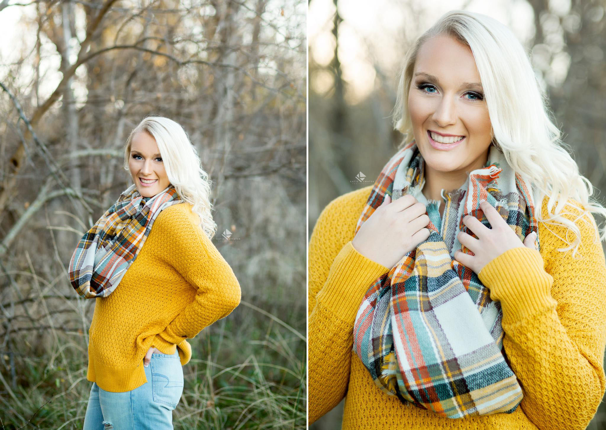blonde senior girl in a mustard colored sweater and a plaid scarf standing in the middle of fall colors